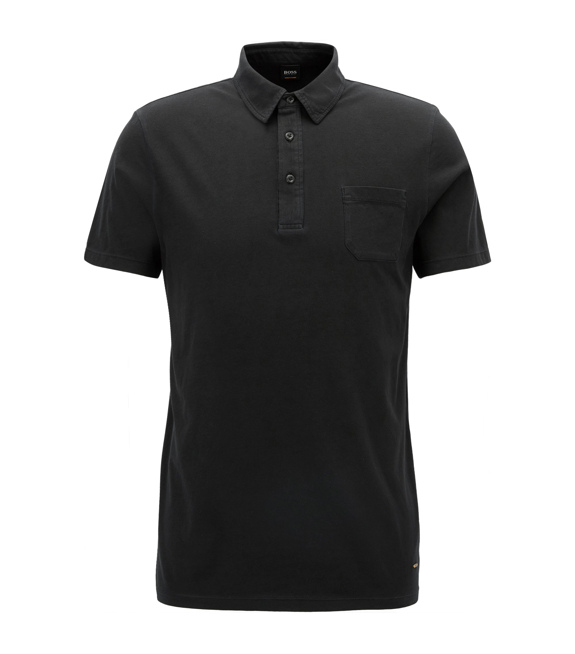 Polo Regular Fit en jersey simple teint en pièce, Noir