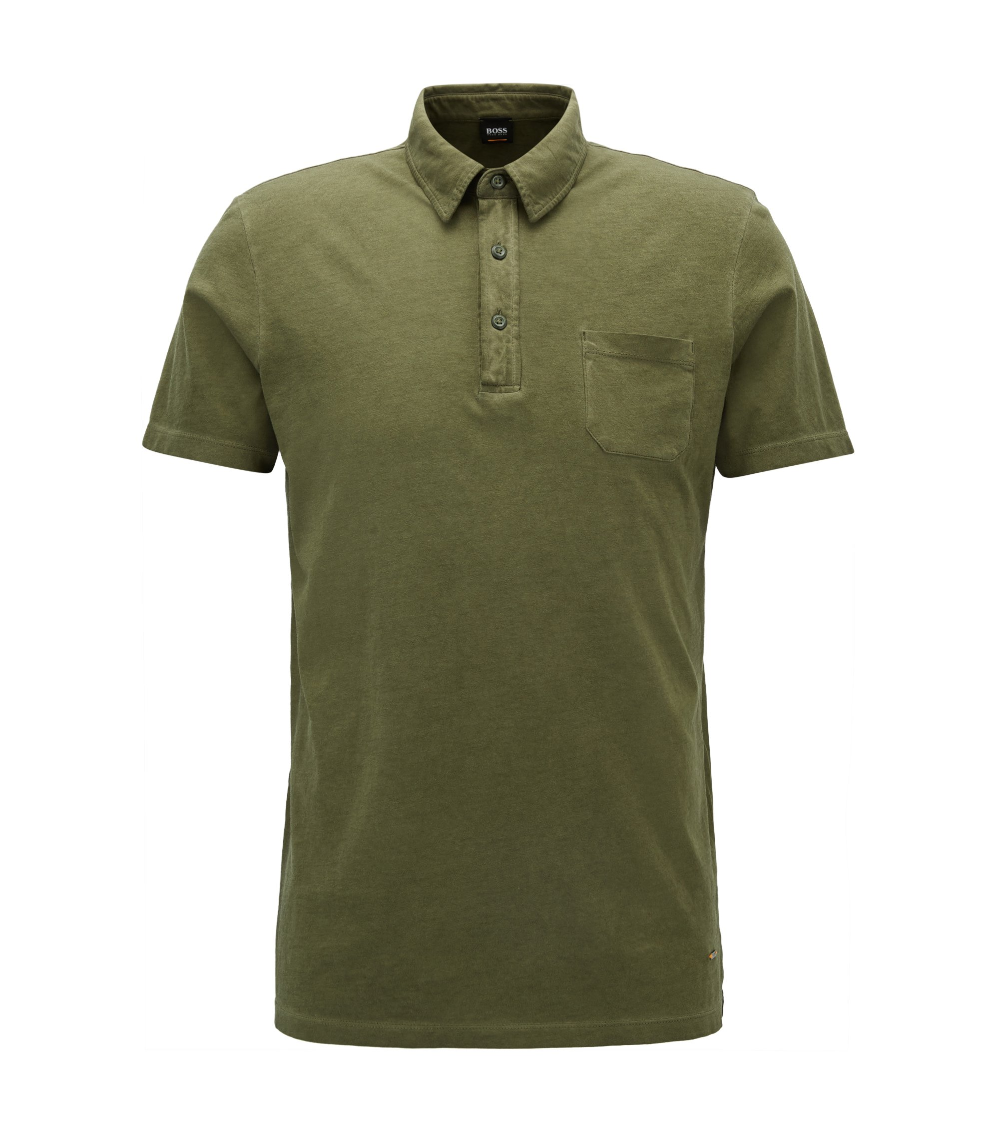 Polo Regular Fit en jersey simple teint en pièce, Vert sombre