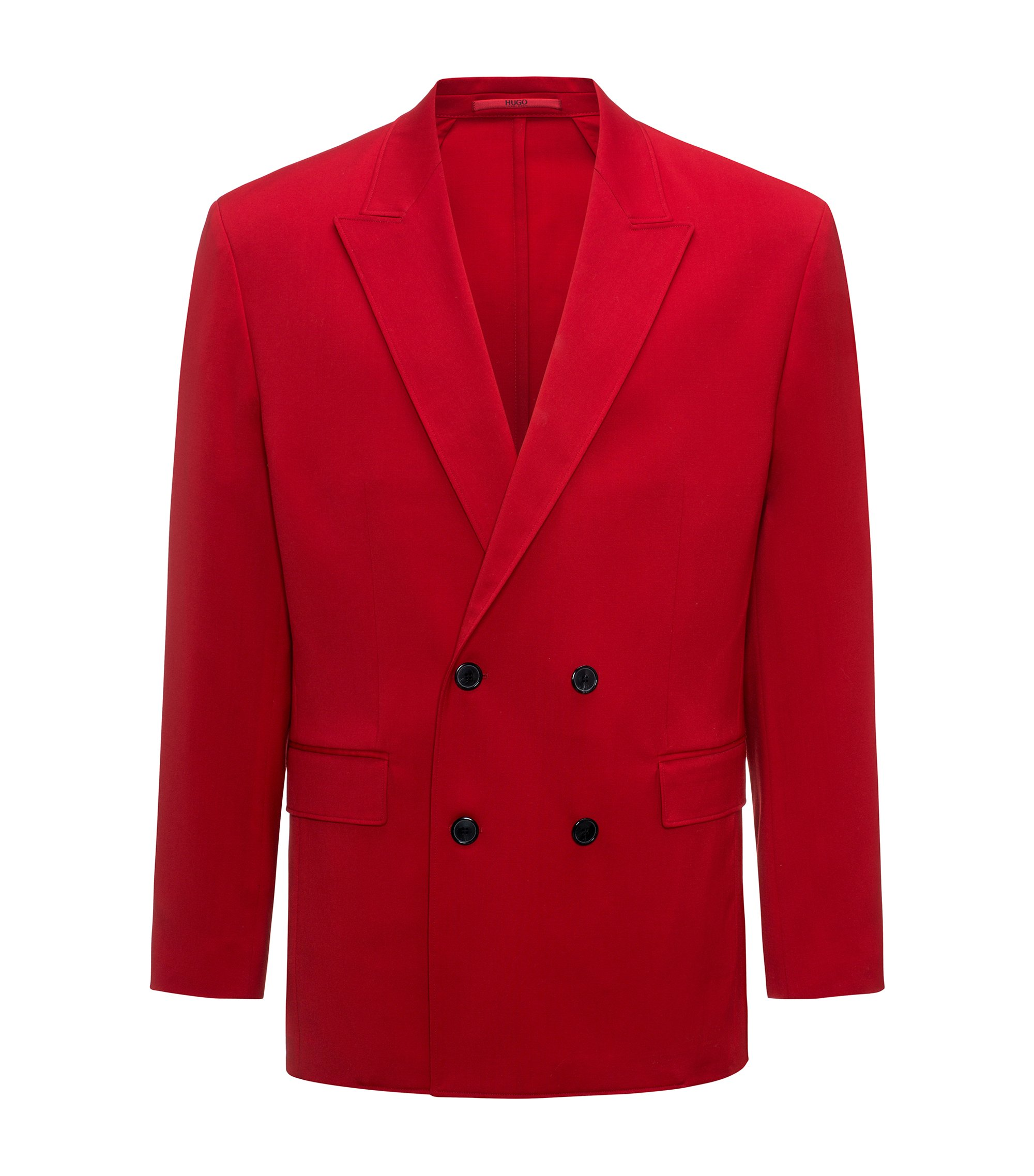 Oversized-fit double-breasted wool jacket, Red