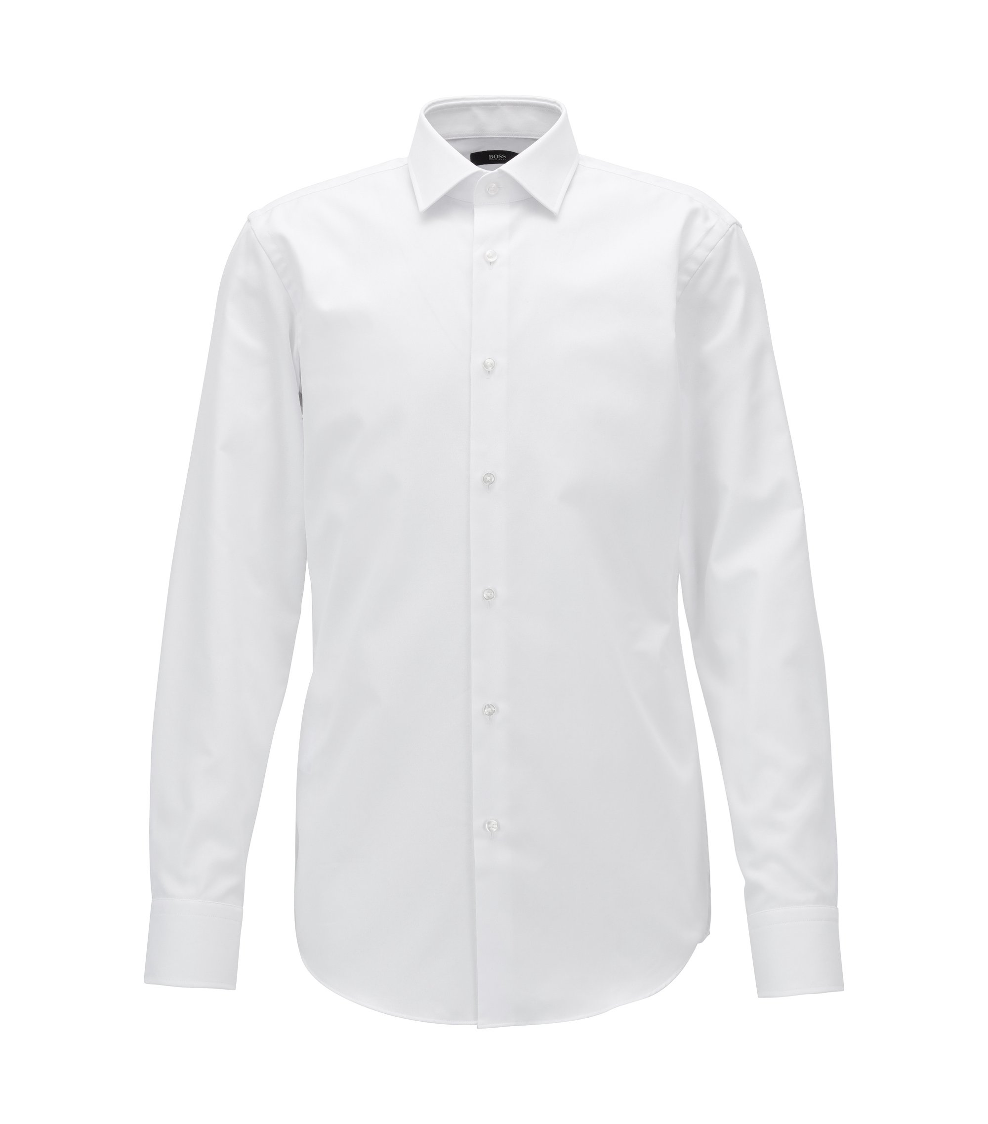 Camicia slim fit a microquadri in cotone con finitura Fresh Active, Bianco