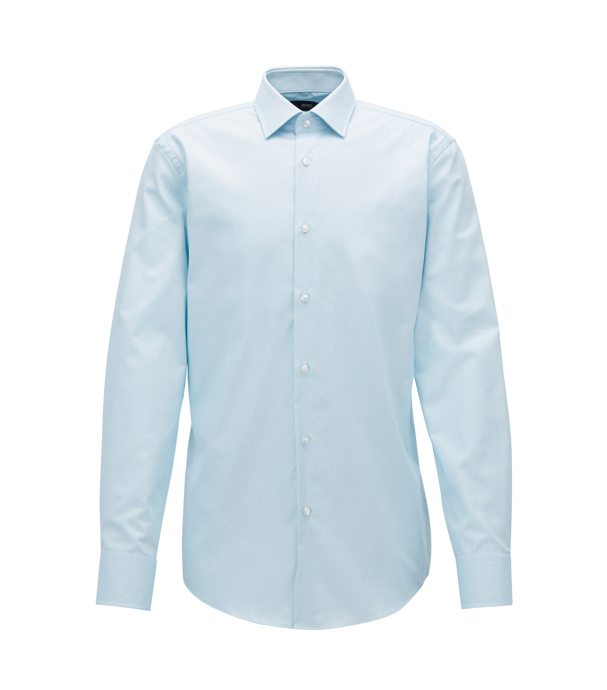 Slim-fit micro-check cotton shirt with Fresh Active finish, Turquoise