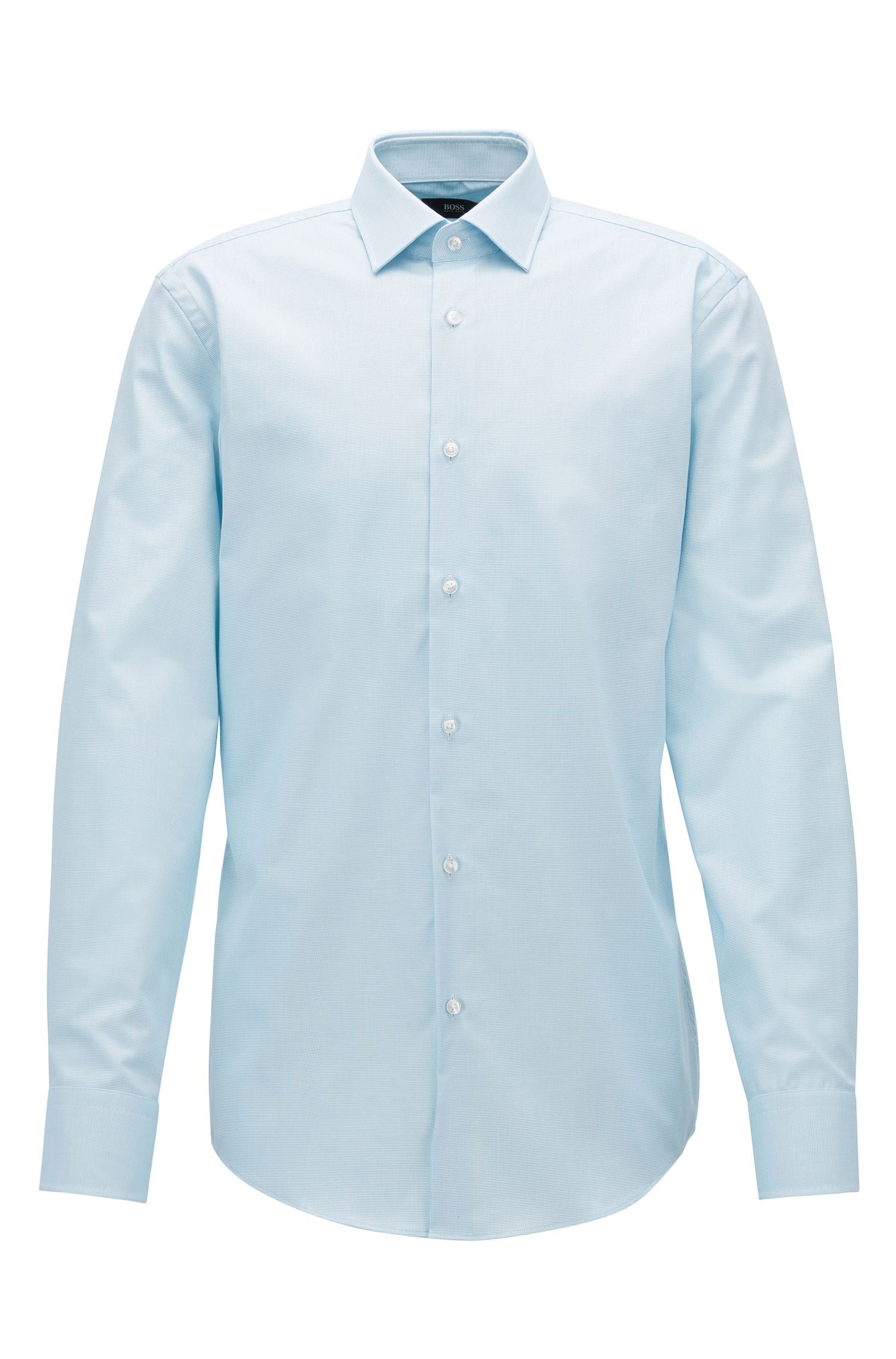 Slim-fit micro-check cotton shirt with Fresh Active finish