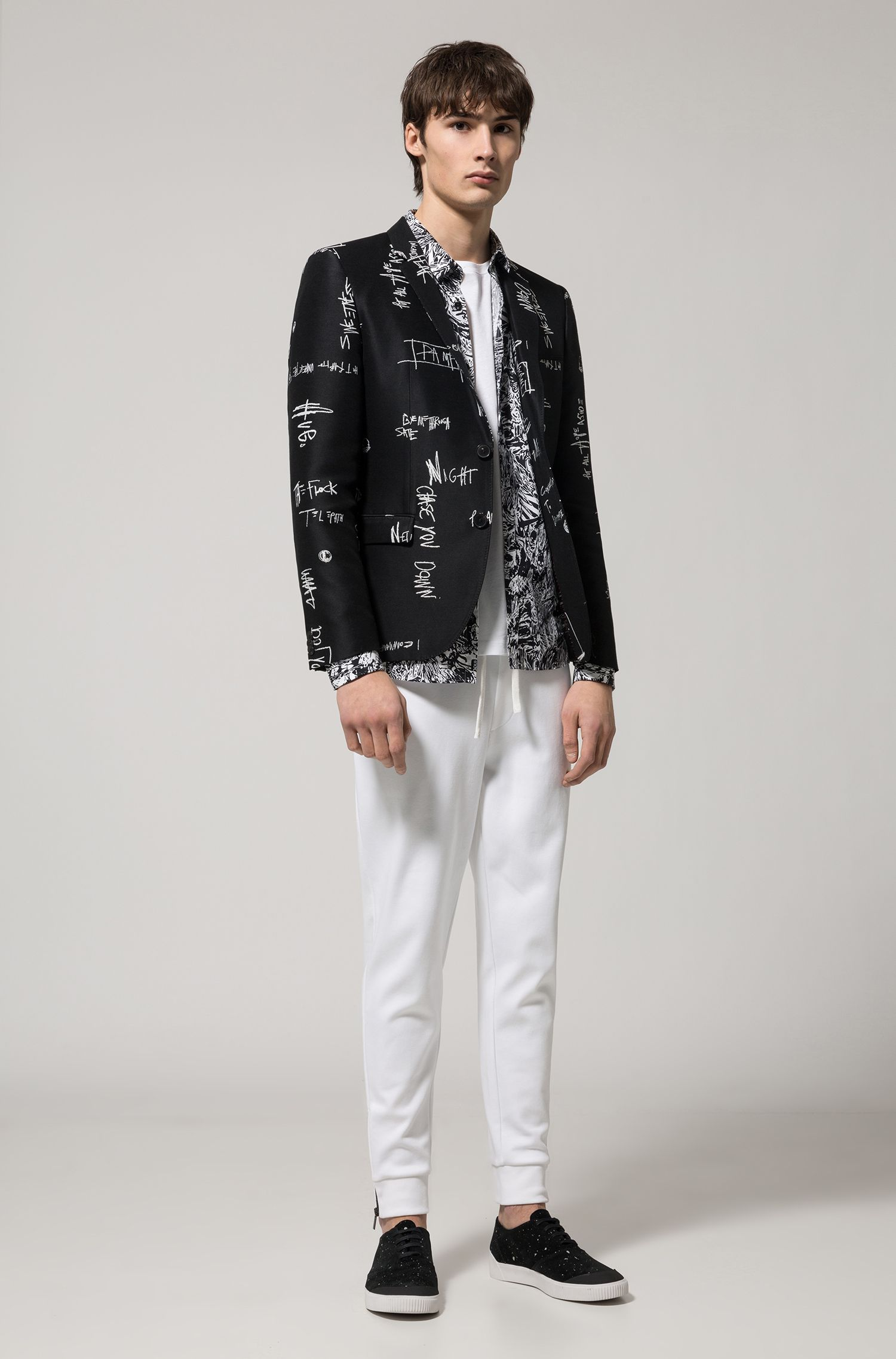 Extra-slim-fit jacket in 'scribble' jacquard