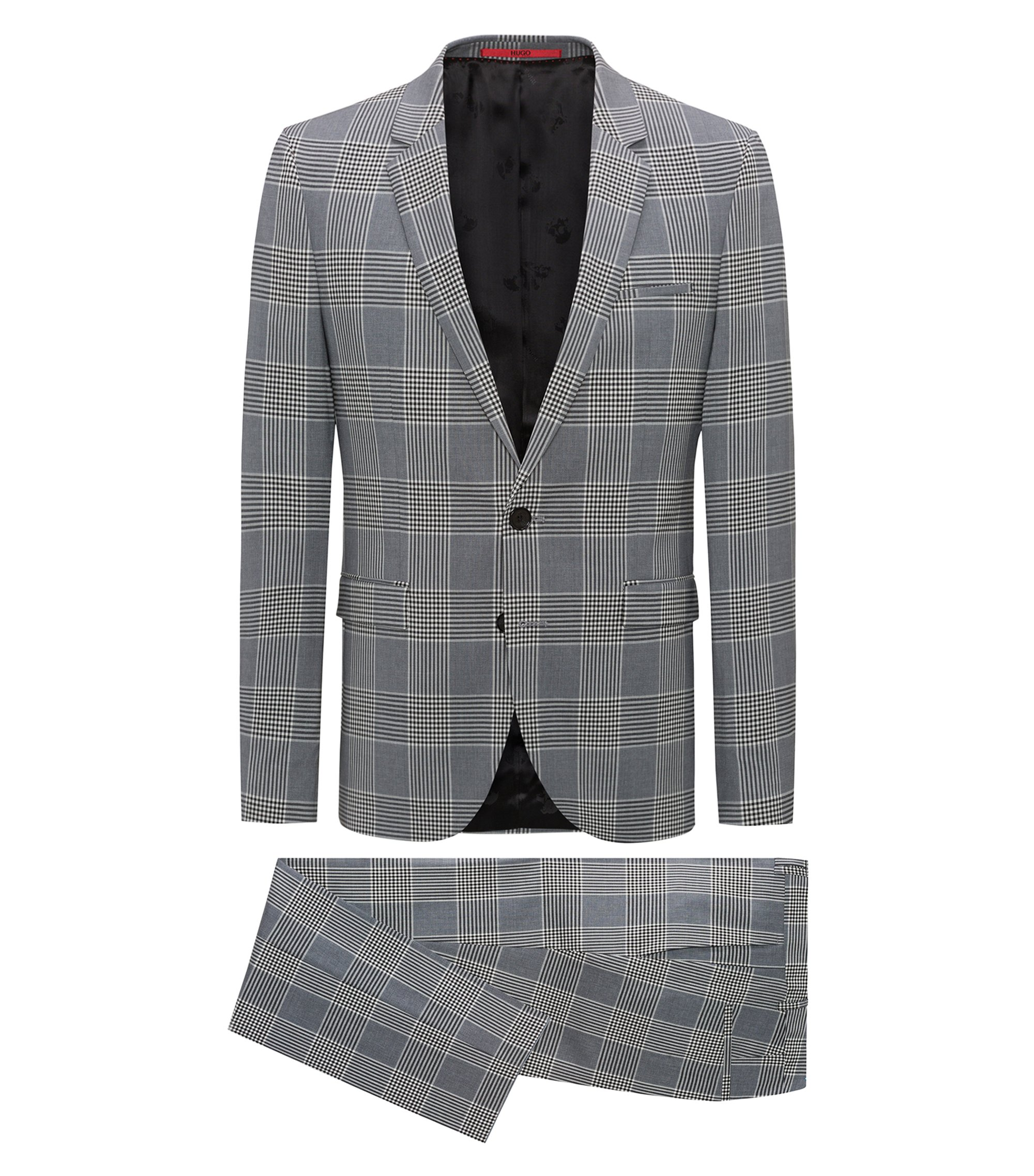 Extra-slim-fit checked suit in a stretch virgin-wool blend, Black