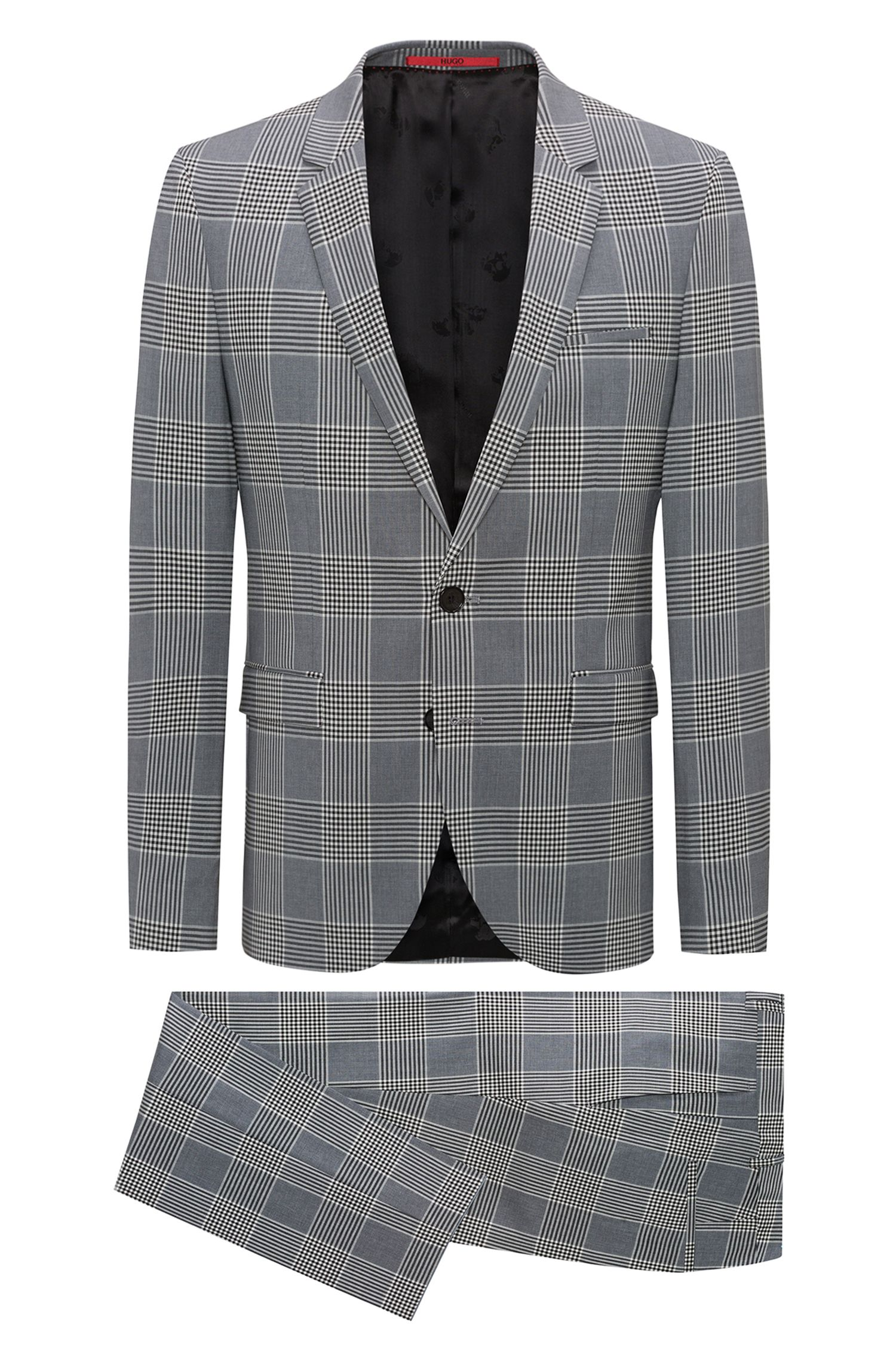 Extra-slim-fit checked suit in a stretch virgin-wool blend