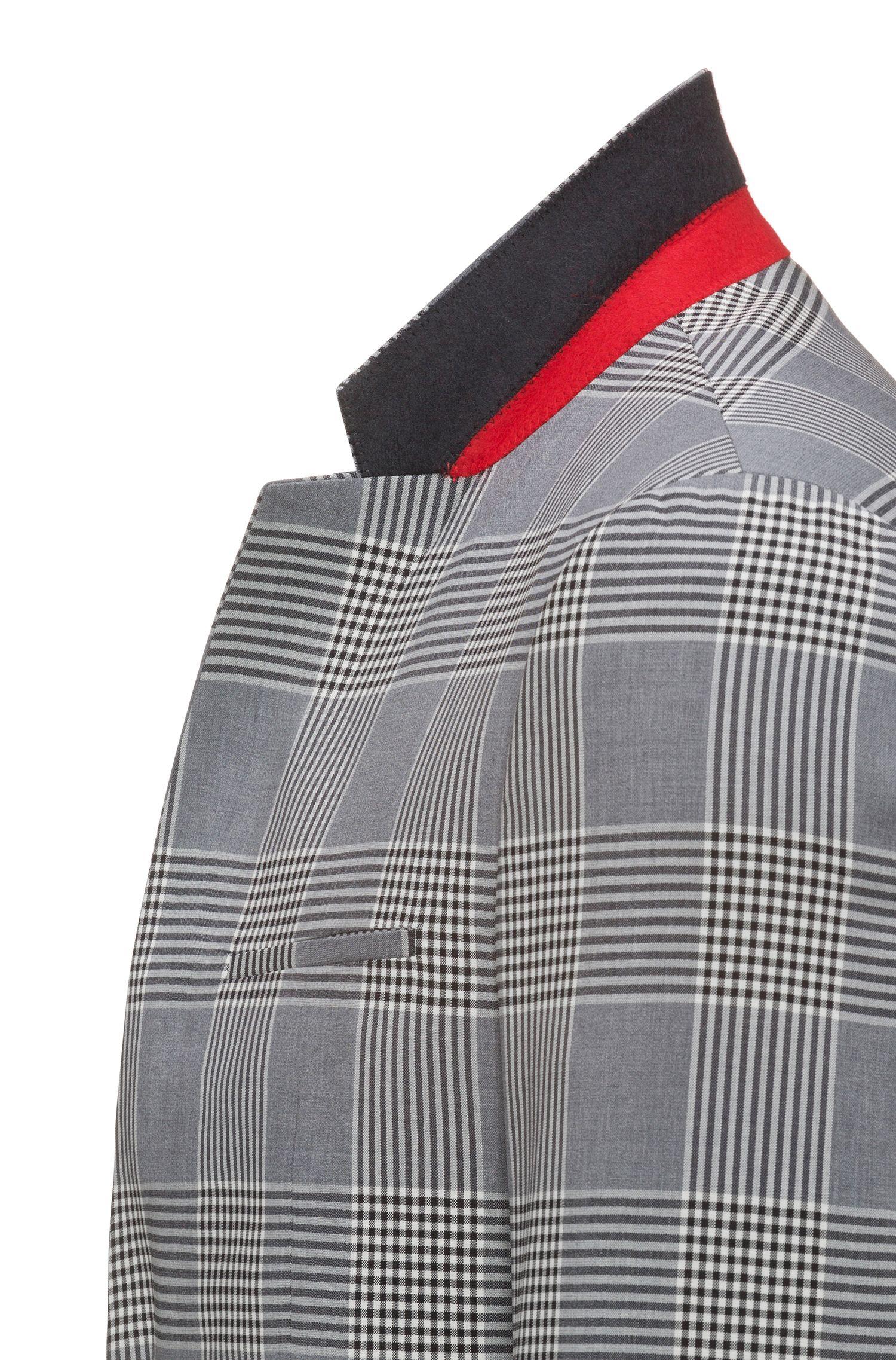 Extra slim-fit geruit kostuum van scheerwol met stretch
