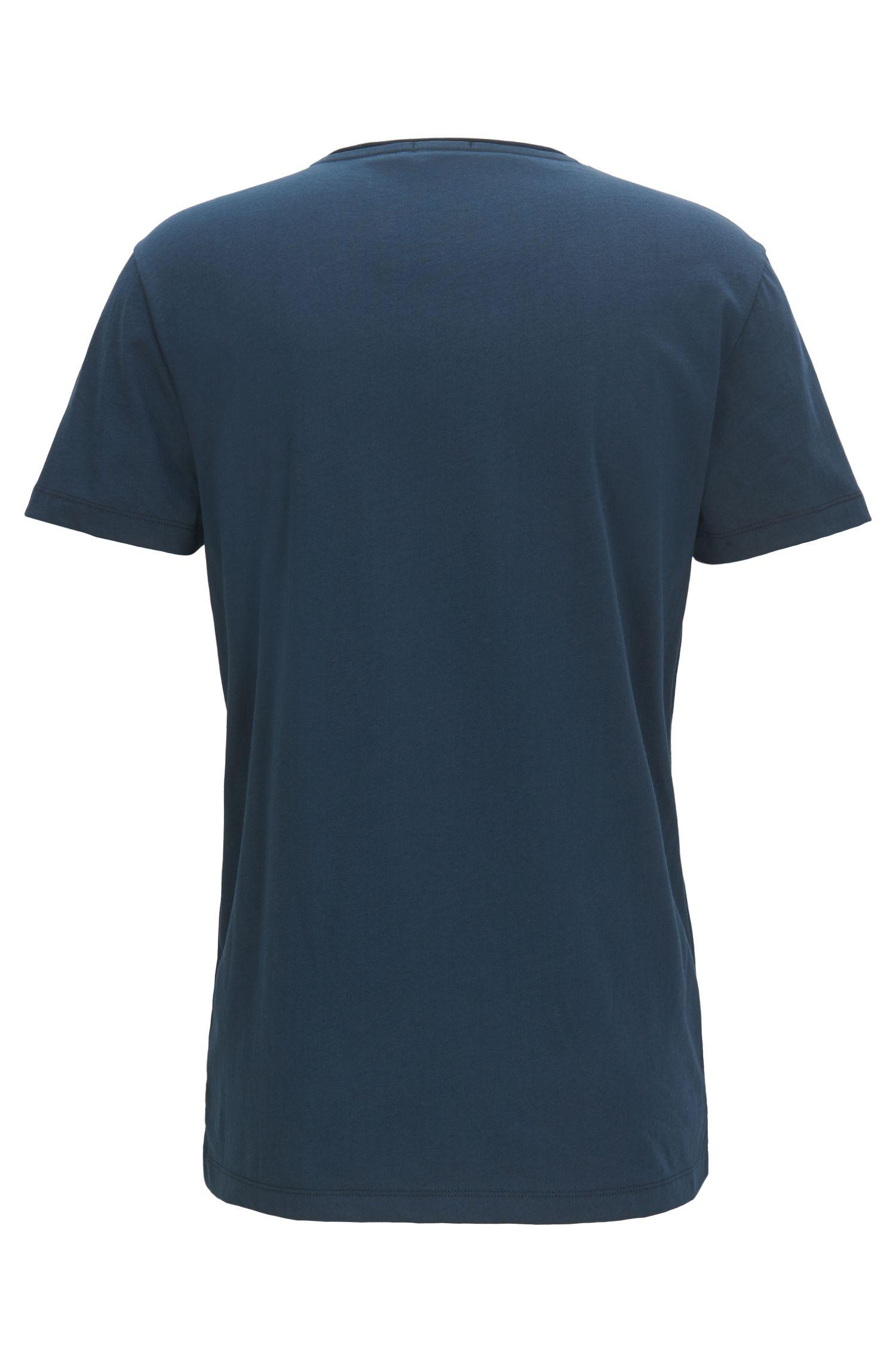 T-shirt van gewassen katoenjersey met gemengde print