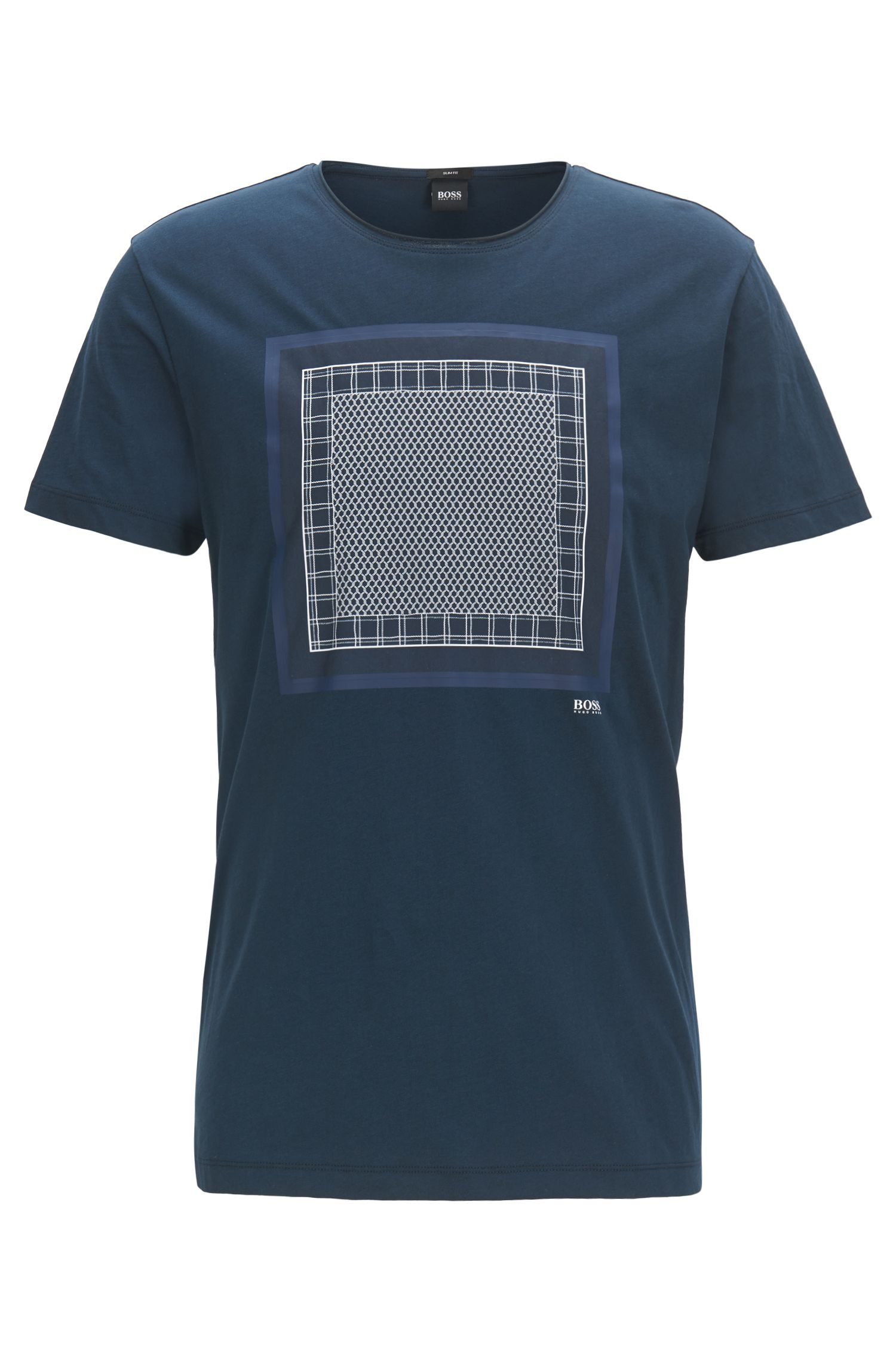 Mixed-print T-shirt in washed cotton jersey