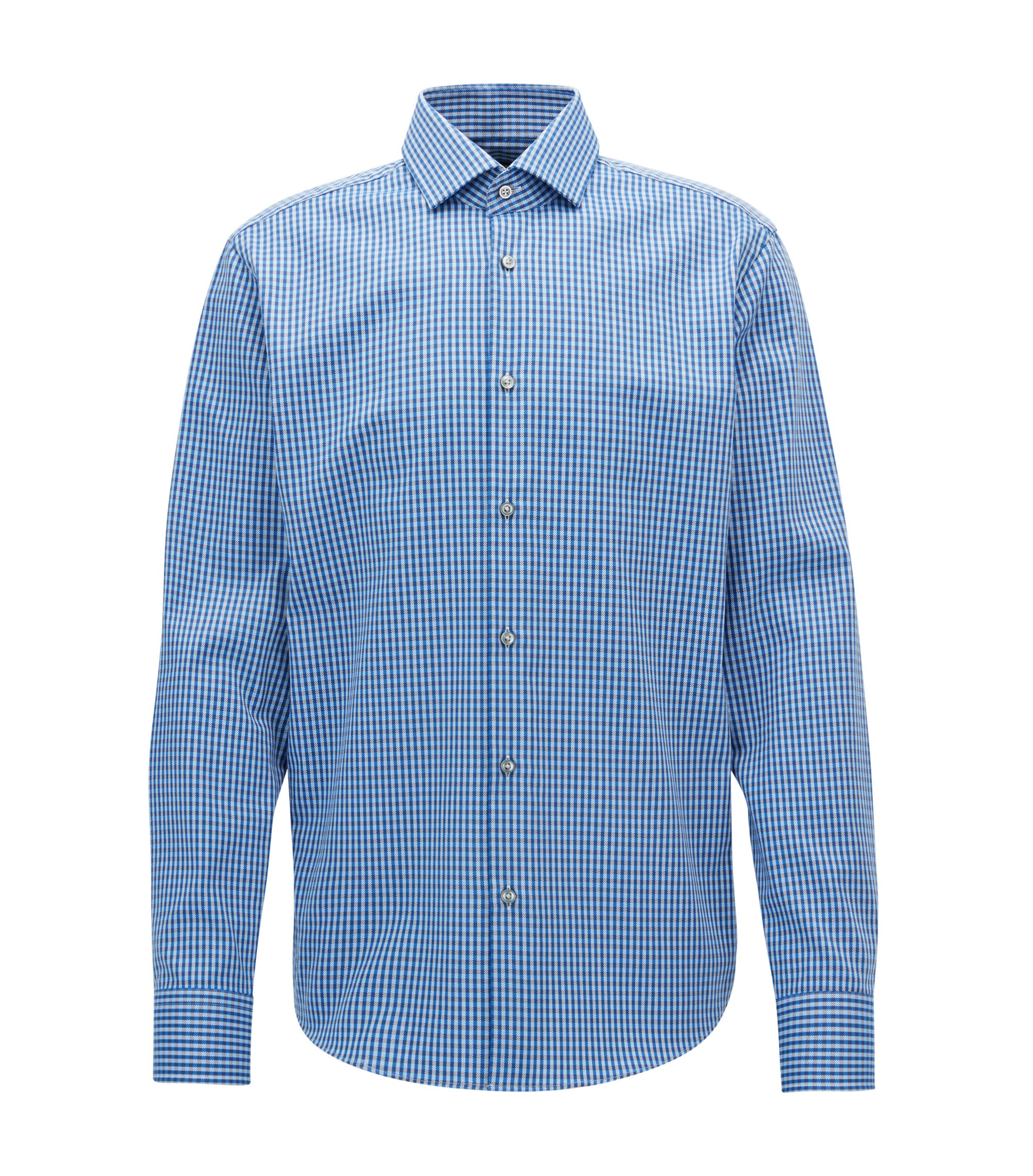Regular-fit checked Oxford cotton shirt with Fresh Active finish, Blue