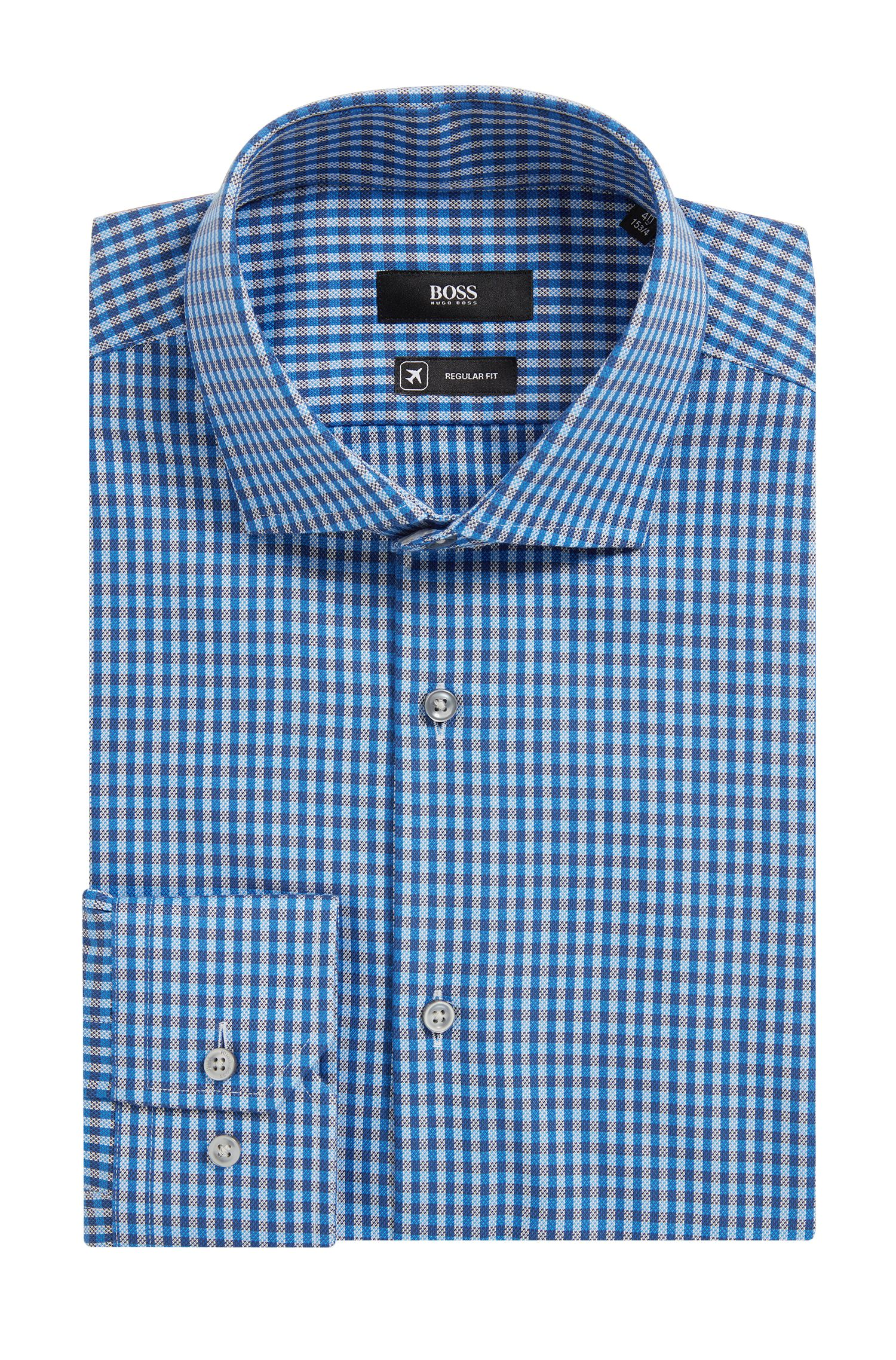 Camisa de algodón Oxford regular fit a cuadros con acabado Fresh Active