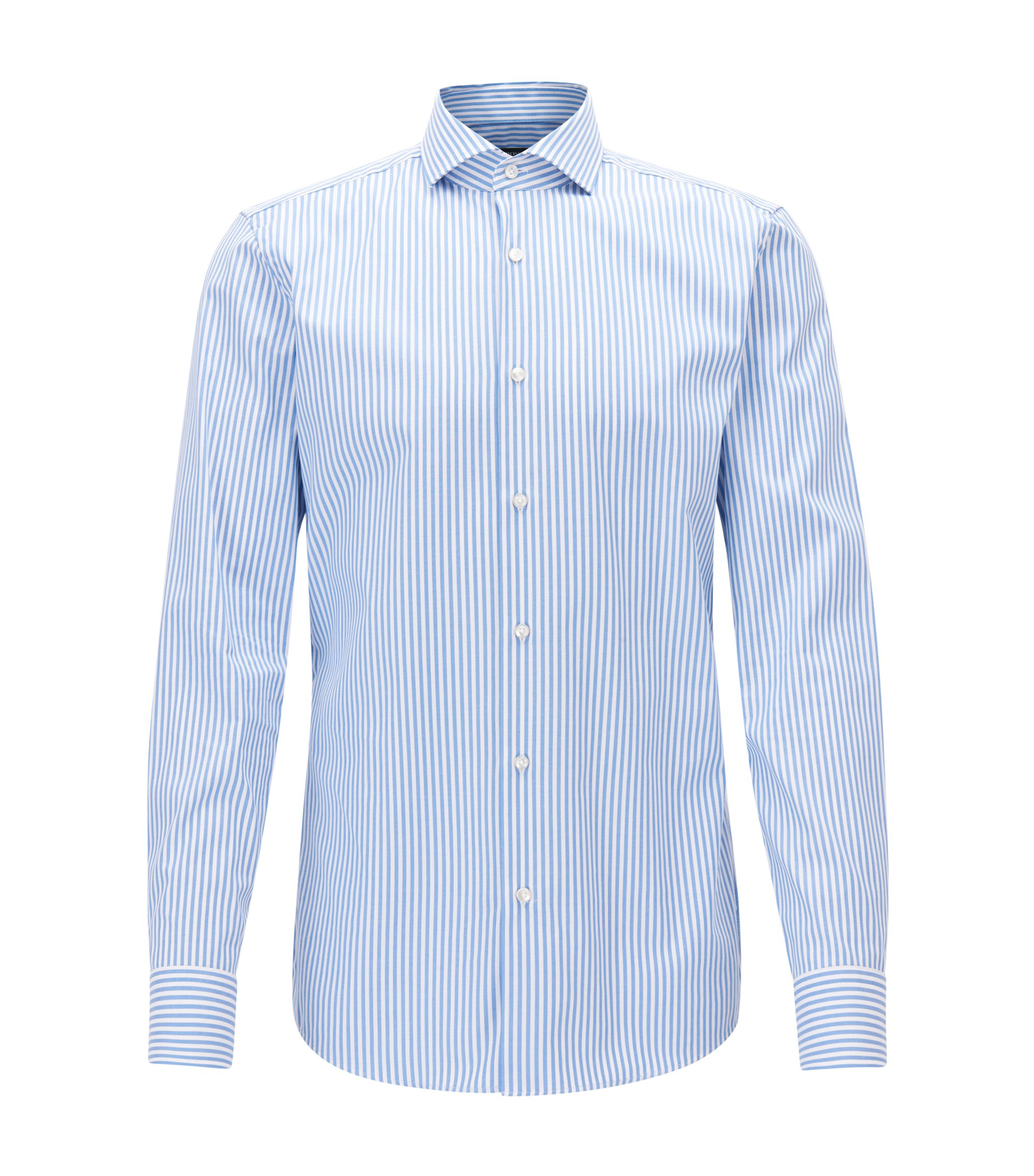 Camicia slim fit in cotone a righe con finitura Fresh Active, Blu