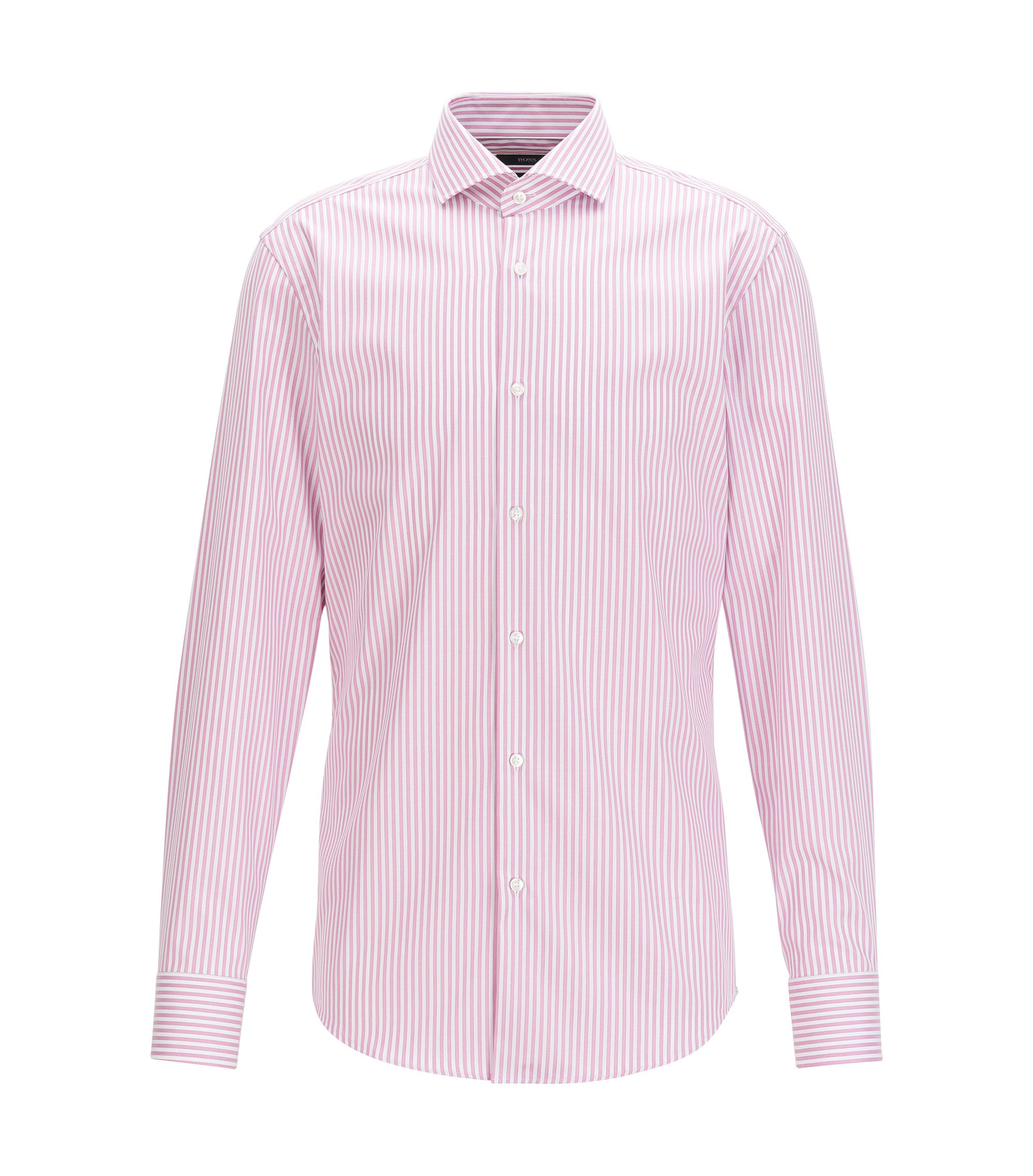 Camicia slim fit in cotone a righe con finitura Fresh Active, Rosa