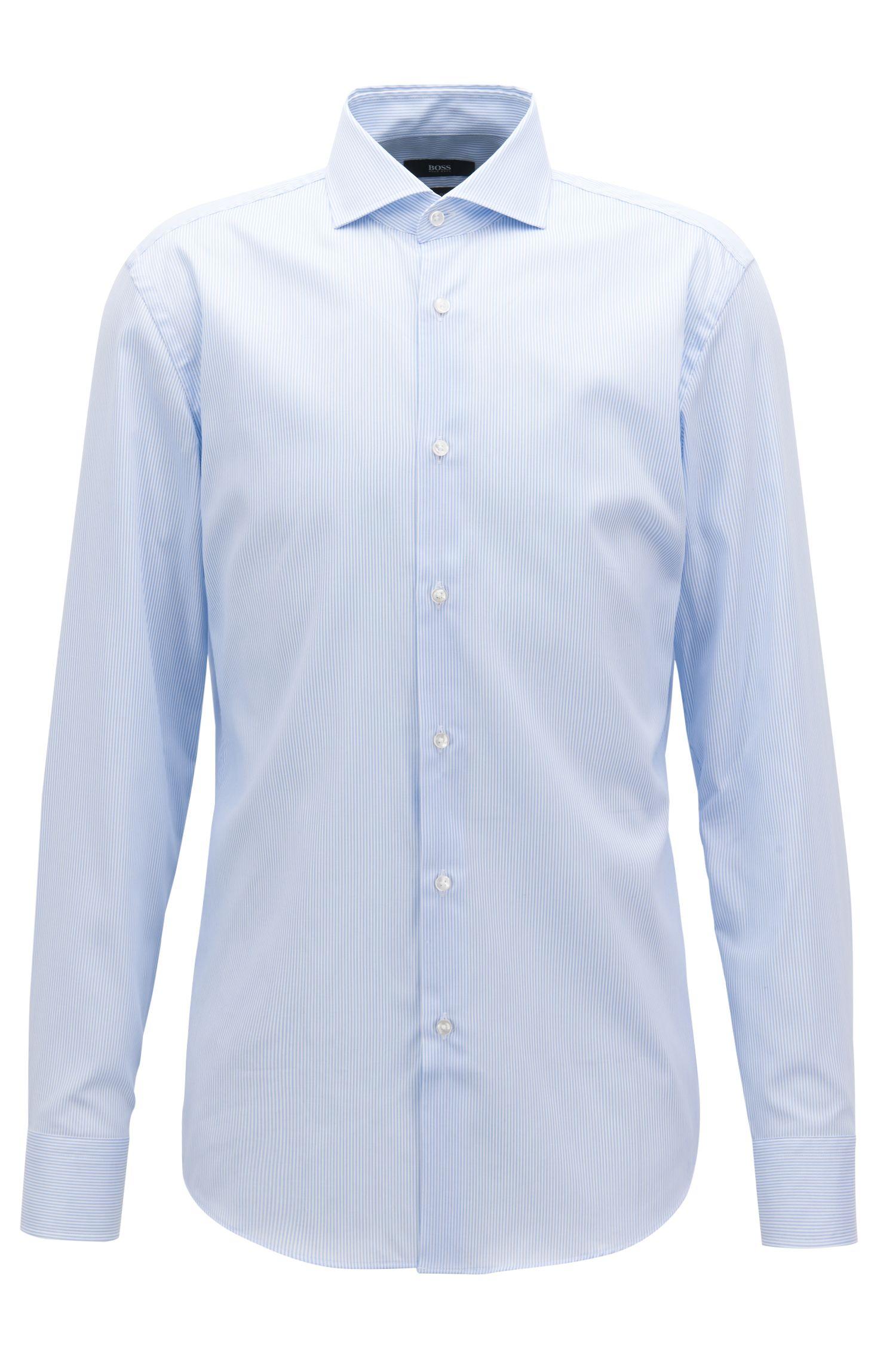 Camisa slim fit a rayas en sarga de mezcla de algodón