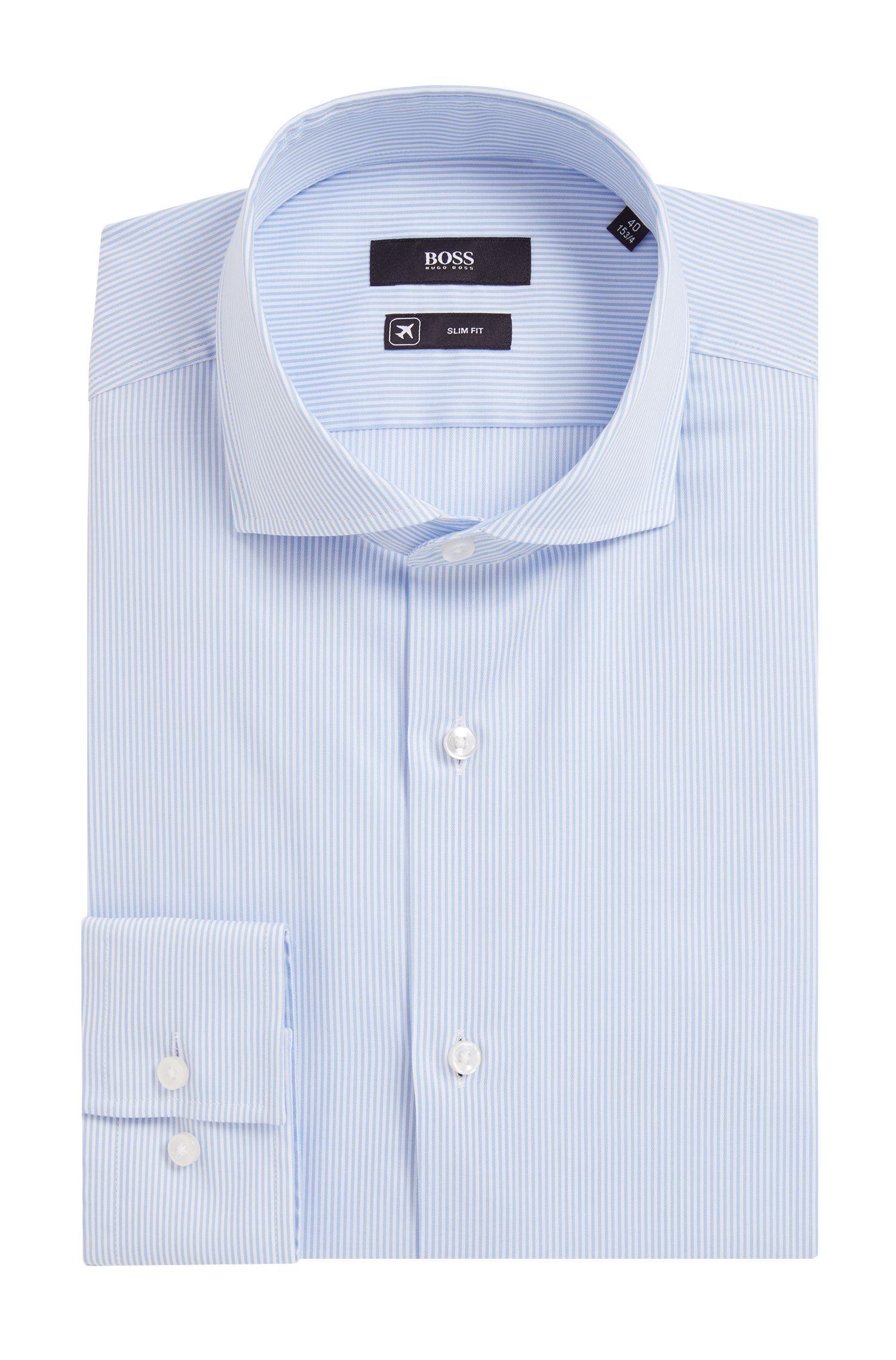 Camicia a righe slim fit in twill di misto cotone
