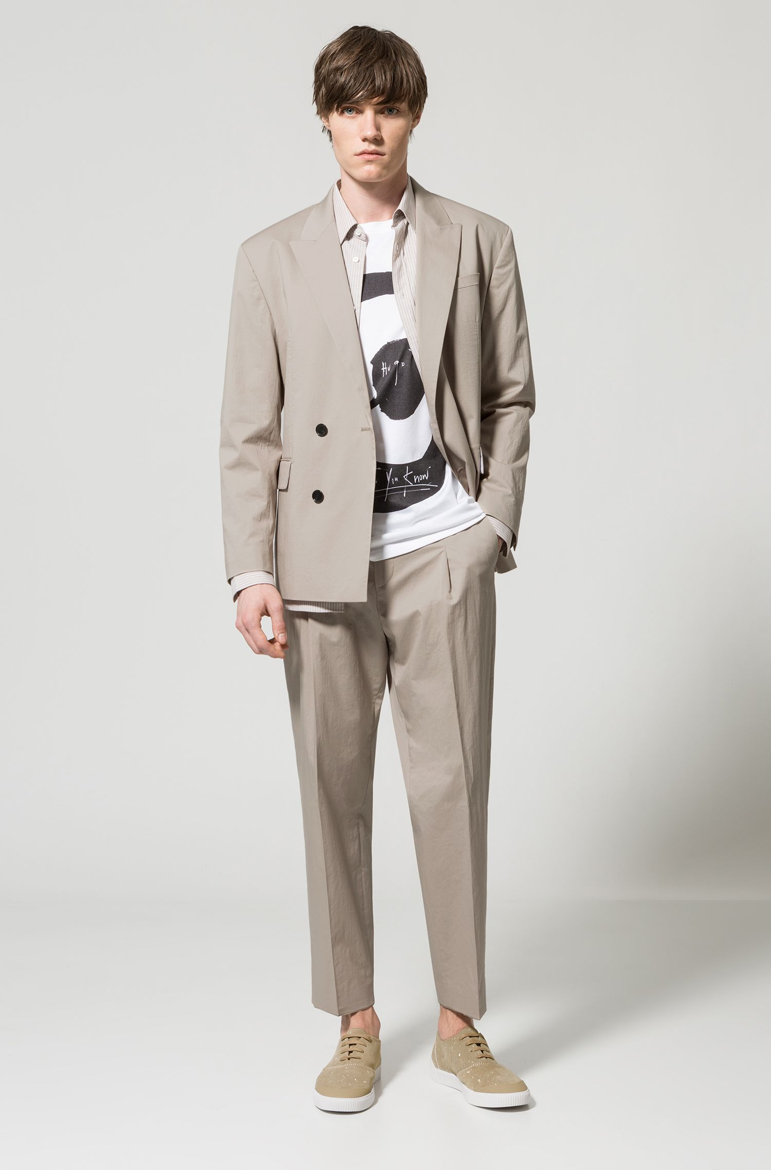 Oversized-fit double-breasted suit in stretch cotton