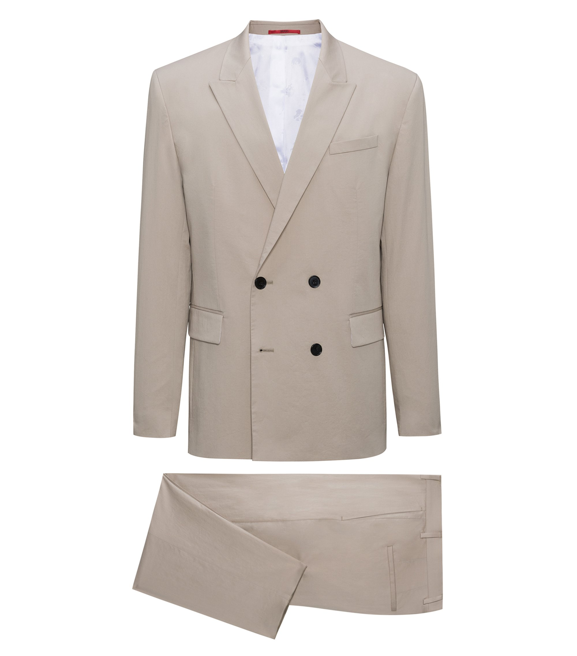 Oversized-fit double-breasted suit in stretch cotton, Beige