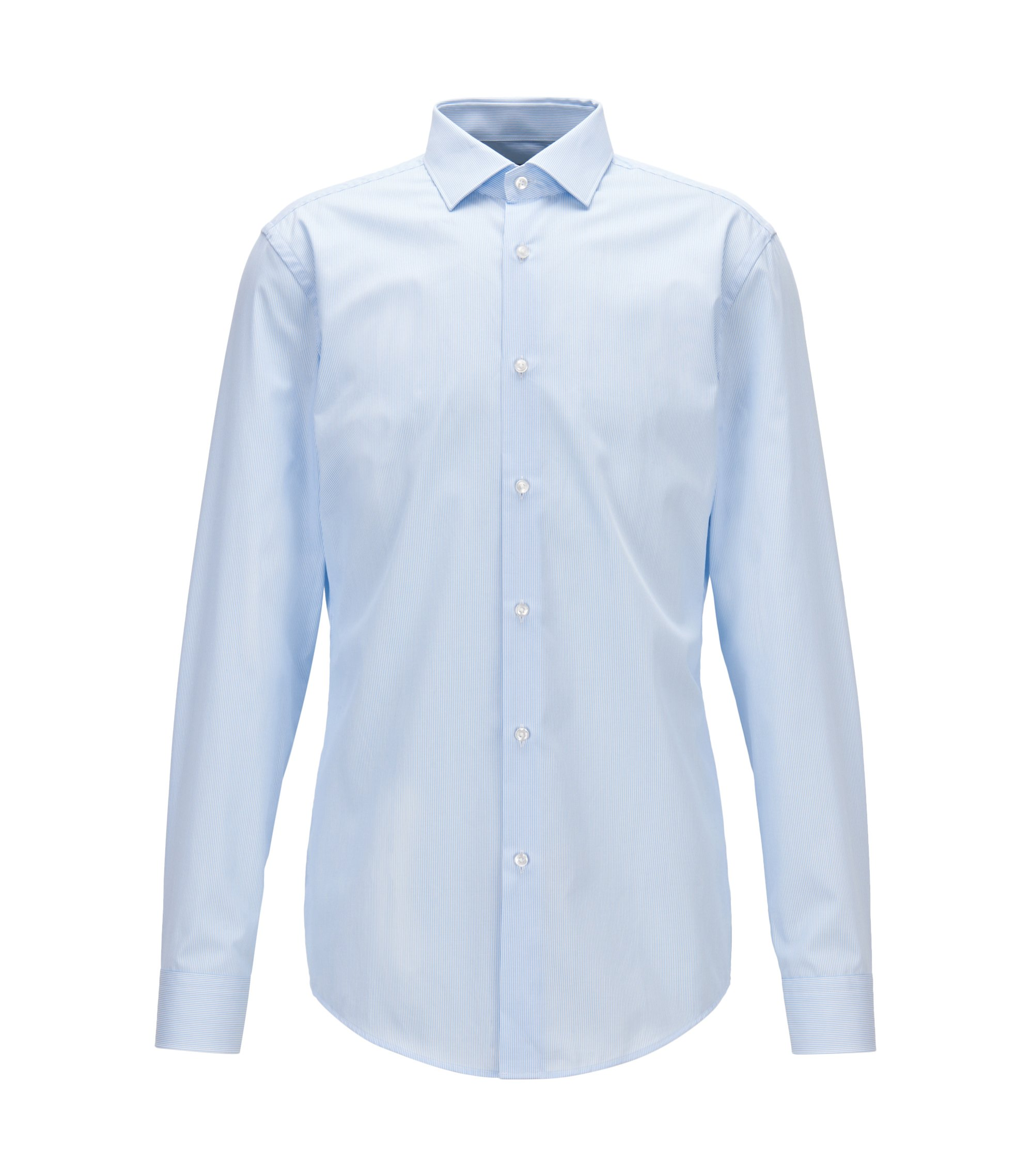 Camicia a righe slim fit con finitura all'aloe vera, Celeste