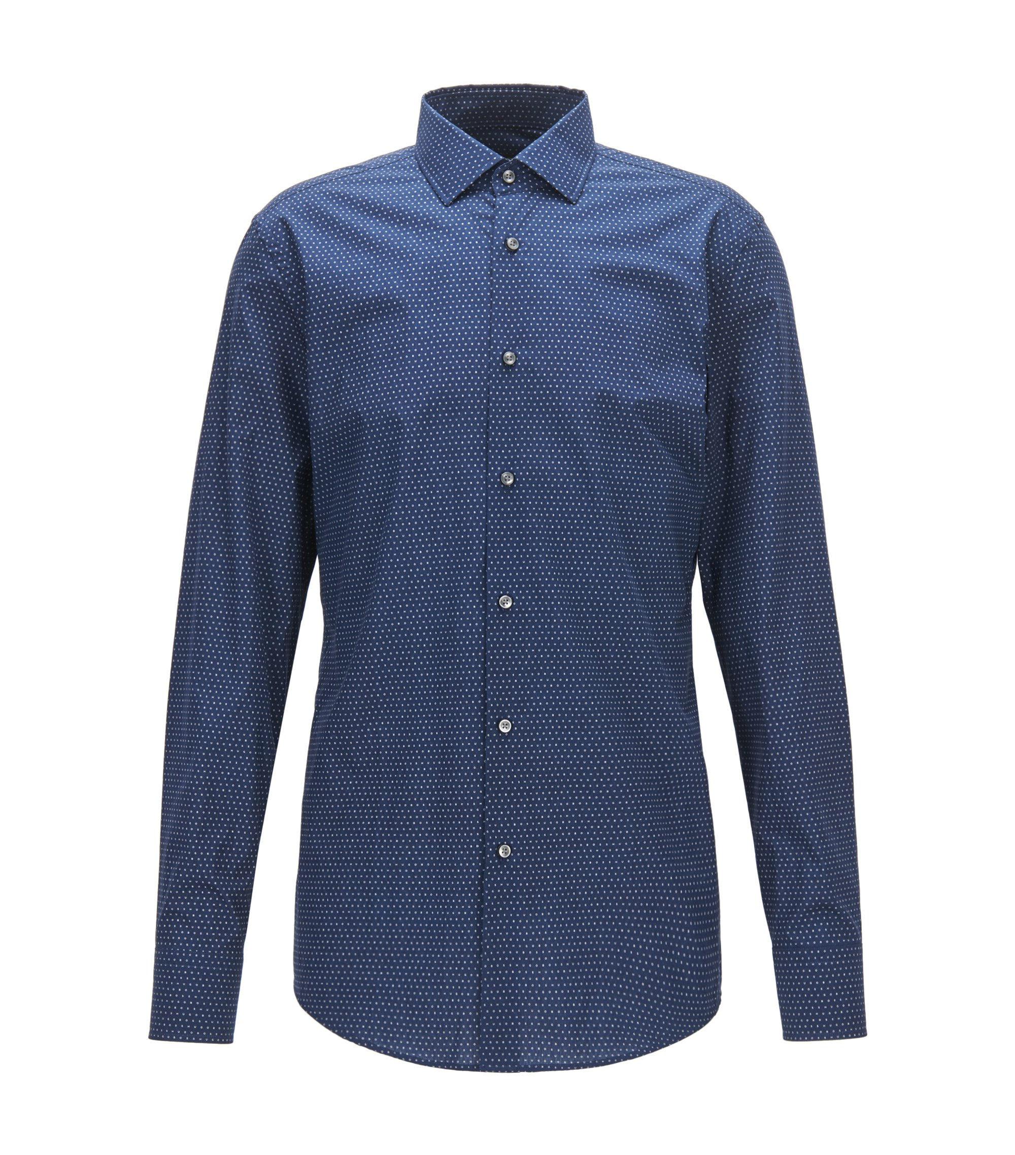 Slim-fit cotton shirt with all-over print, Dark Blue