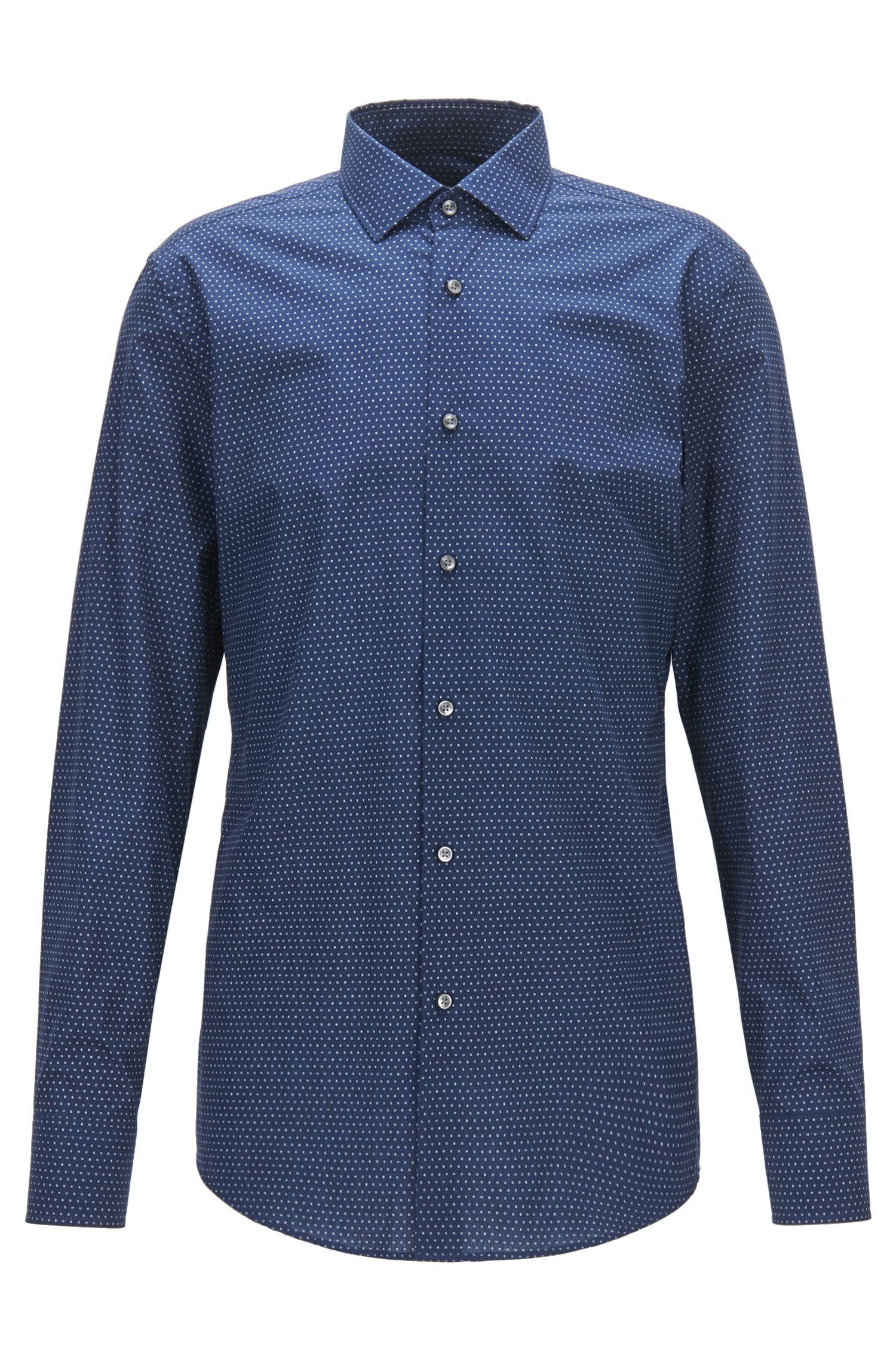 Camicia slim fit in cotone con stampa all-over
