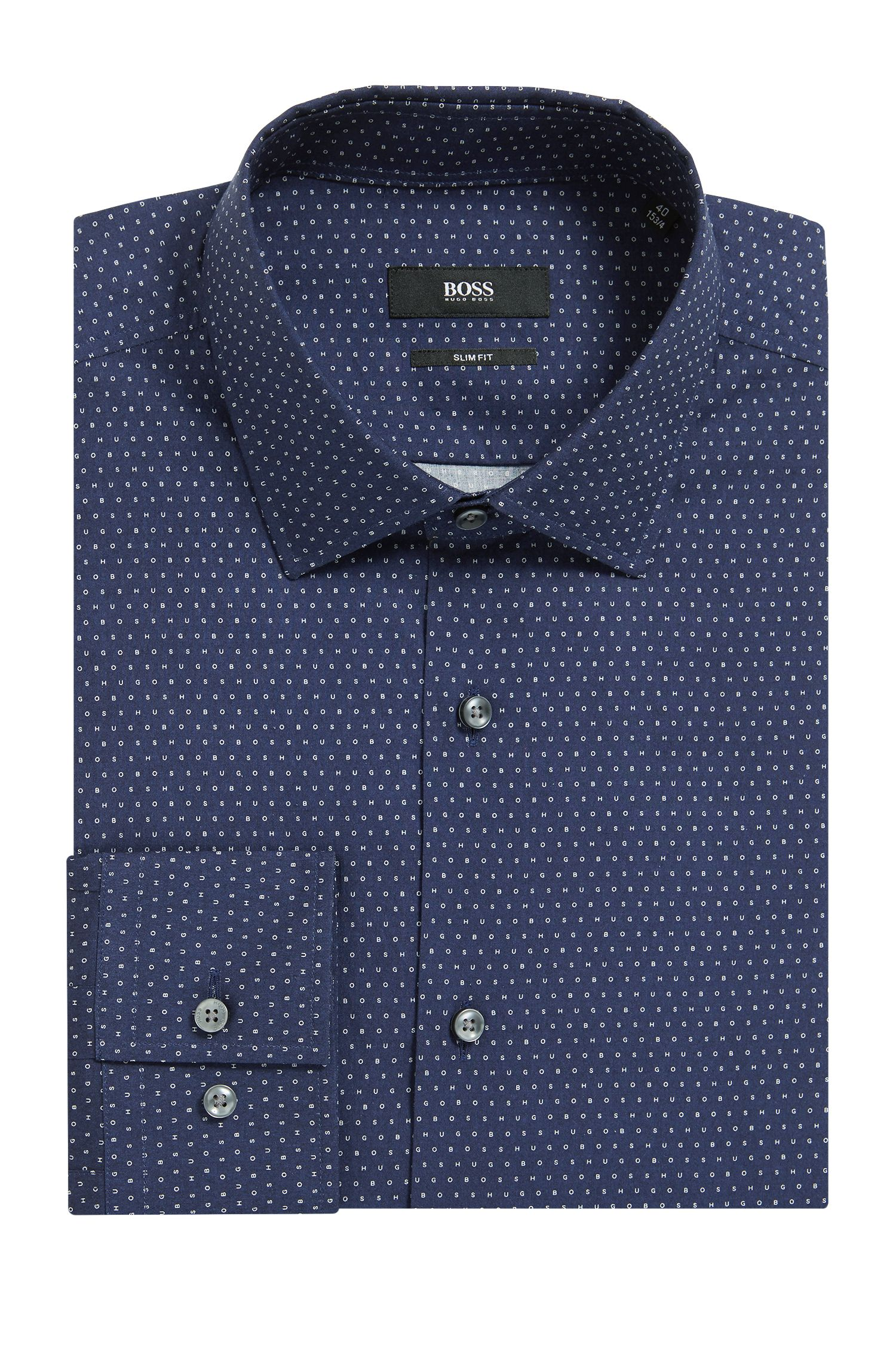Slim-fit cotton shirt with all-over print