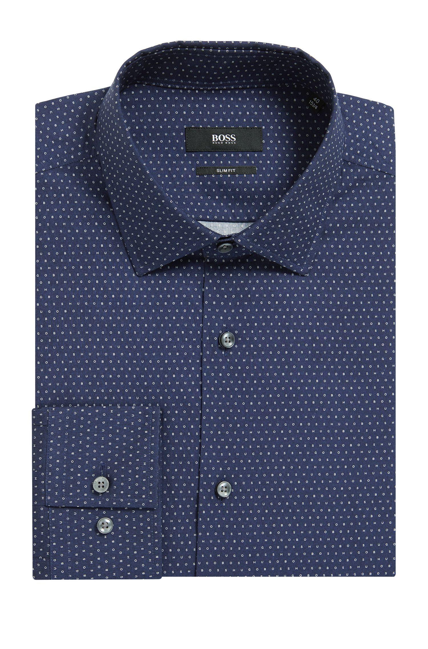 Camisa slim fit de algodón con estampado integral