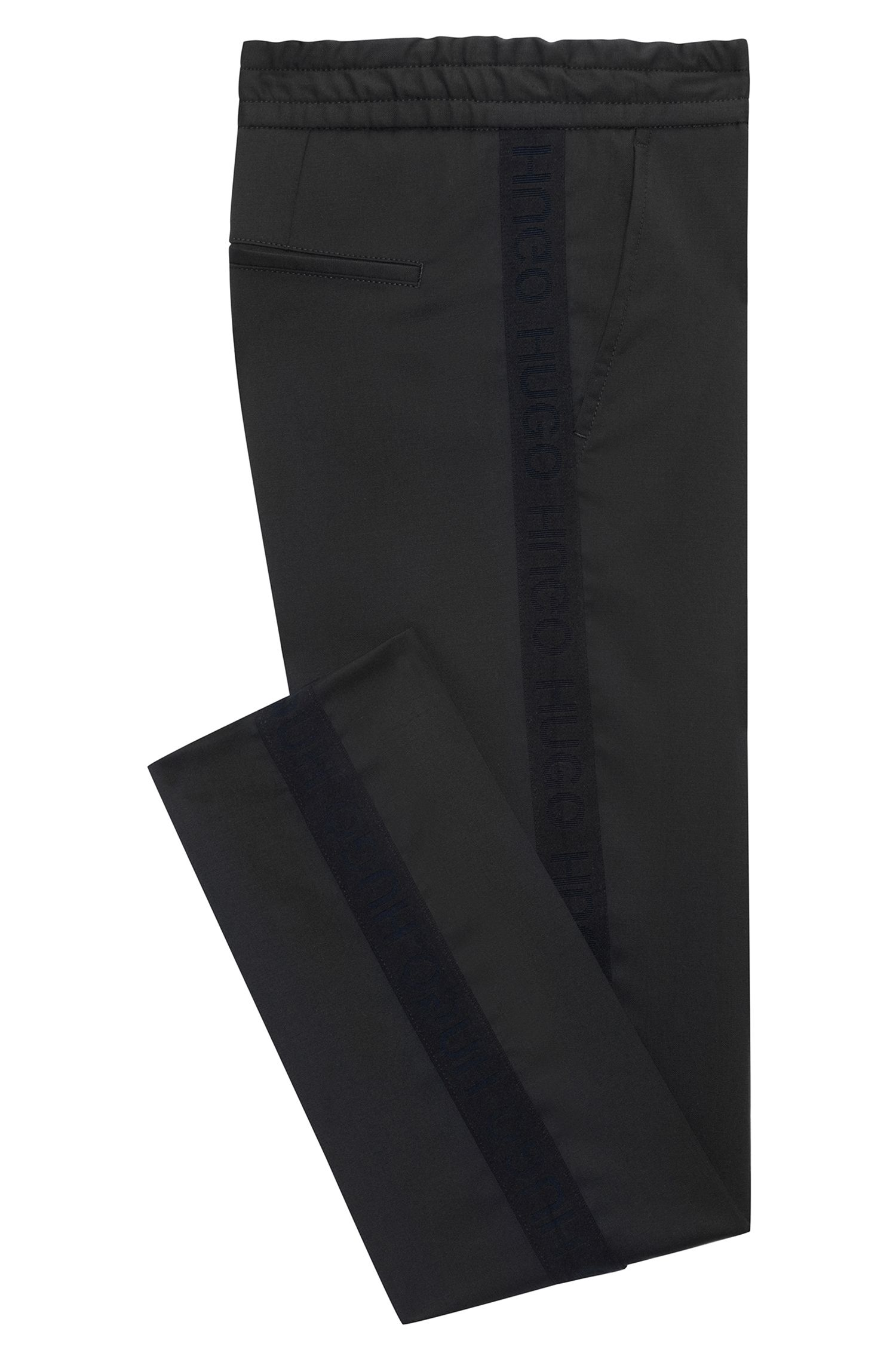 Tapered-fit virgin-wool trousers with logo taping