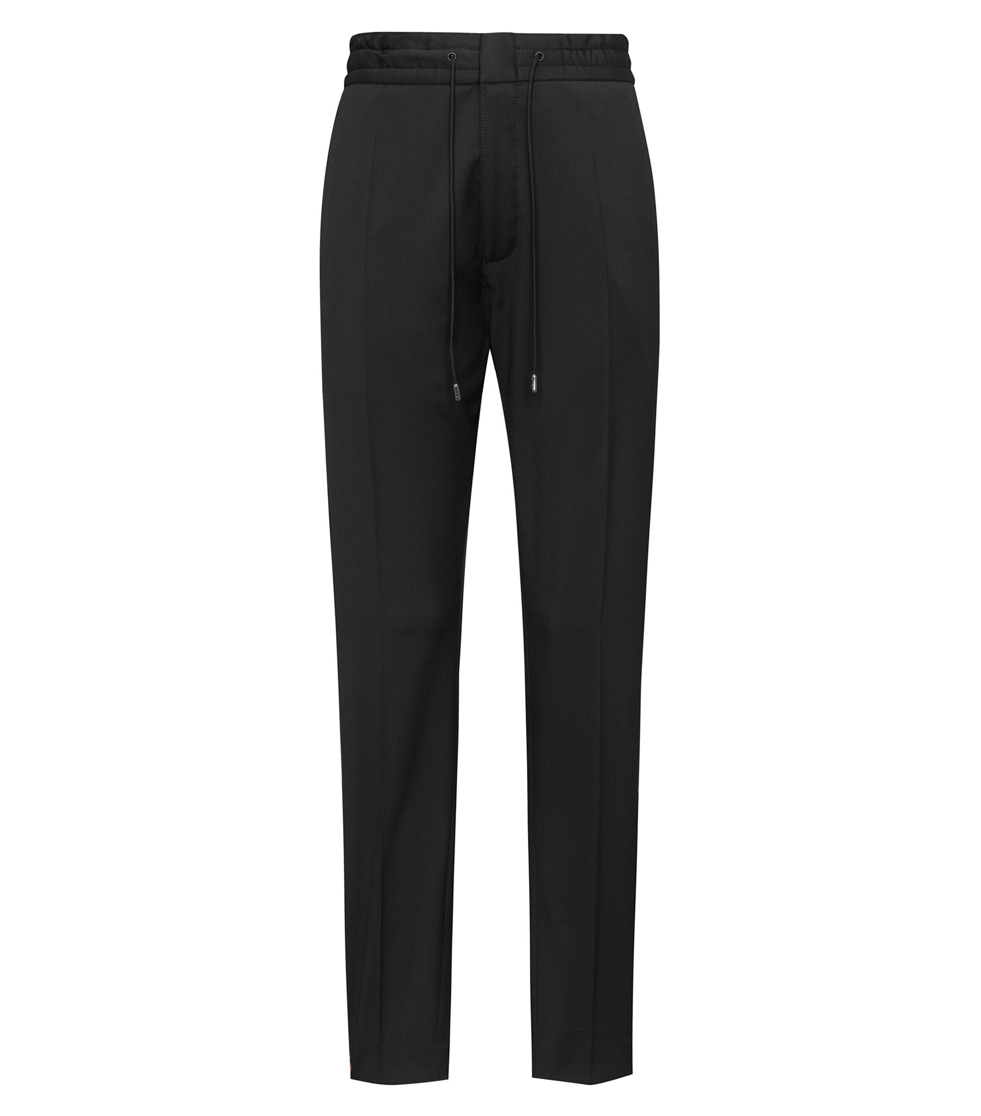 Tapered-fit virgin-wool trousers with logo taping, Black