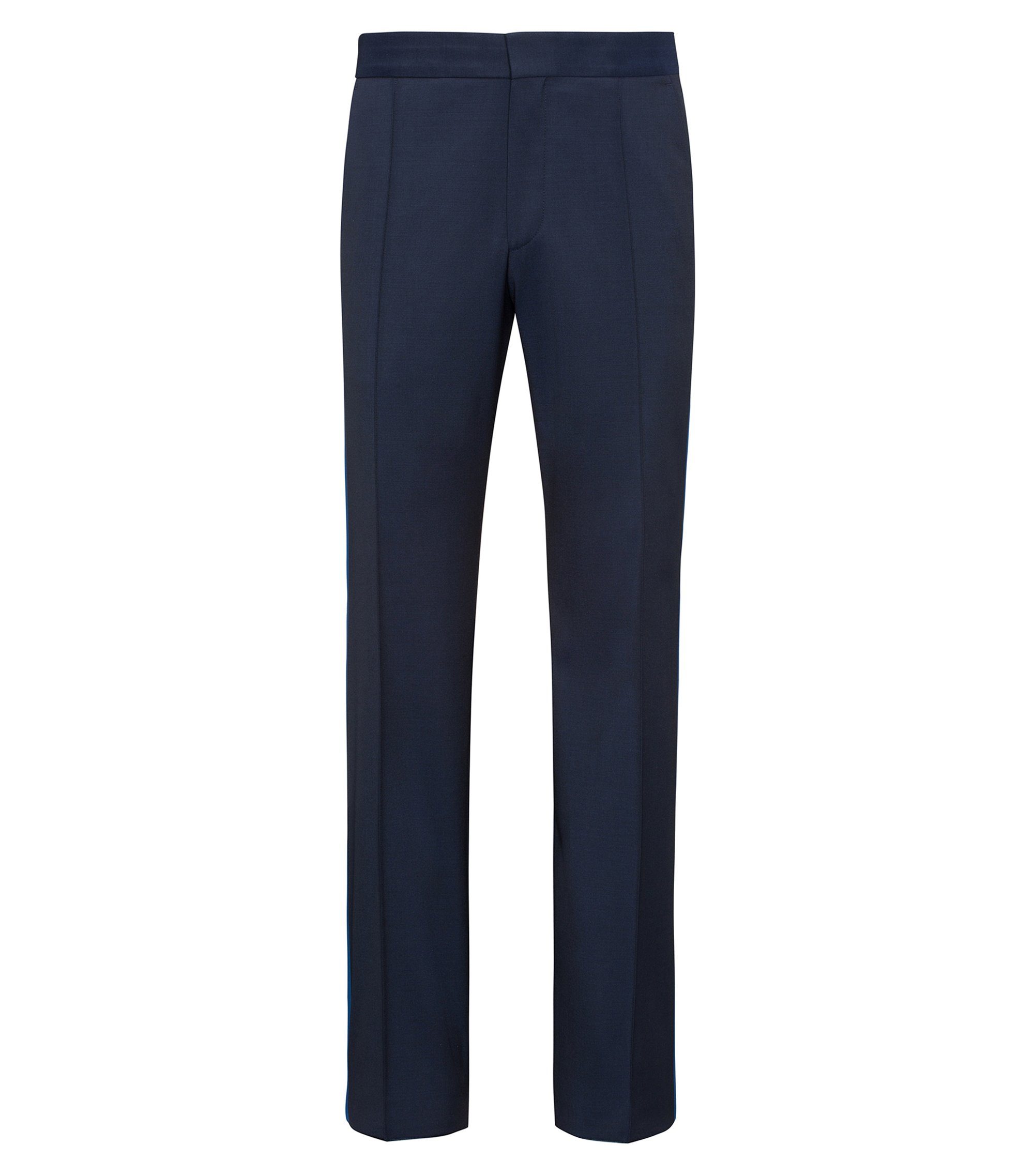 Oversized-fit virgin wool trousers with contrast silk stripe, Dark Blue
