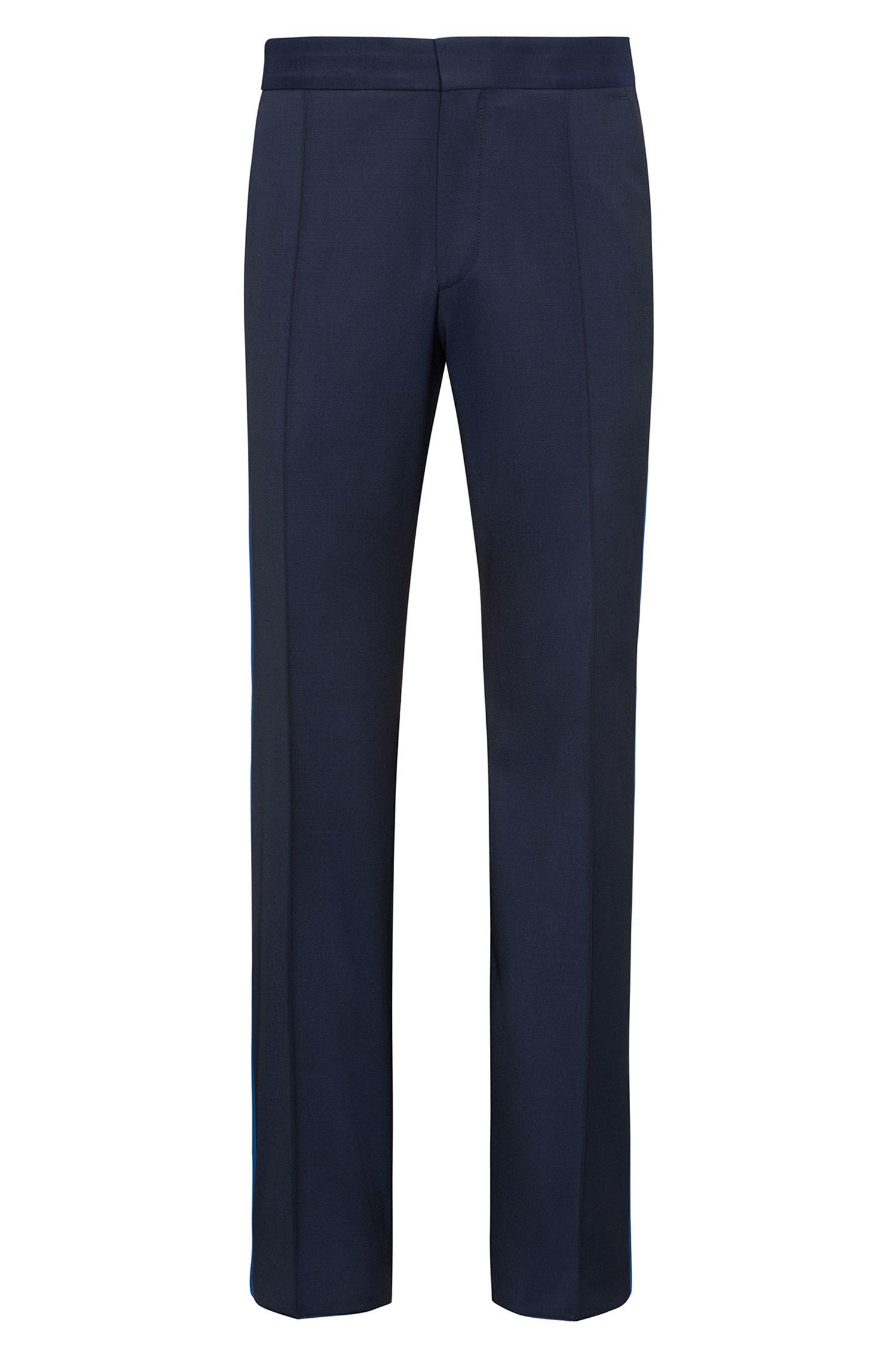 Pantalon oversize en laine vierge avec bande en soie contrastante