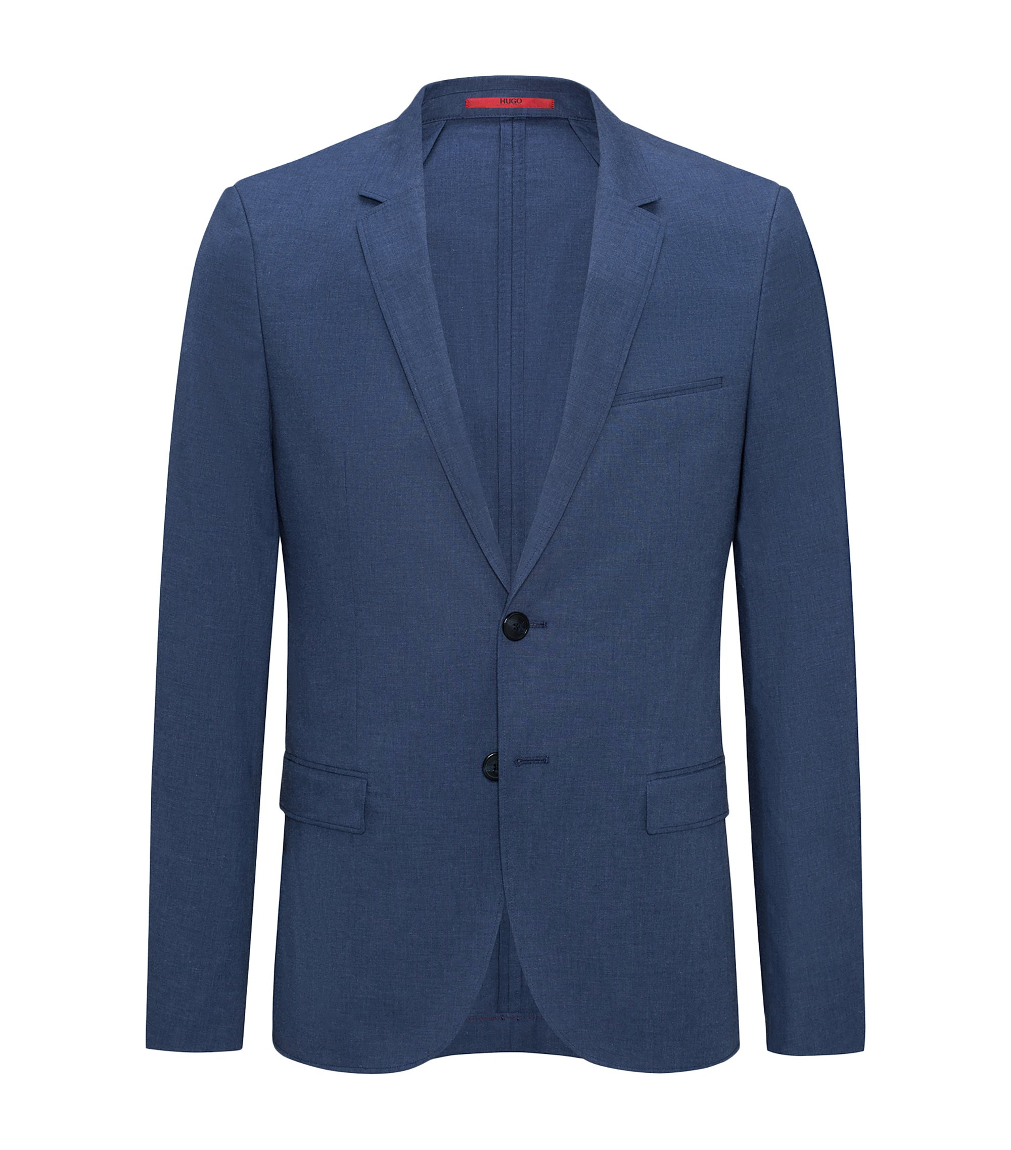 Veste Extra Slim Fit en coton stretch chiné, Bleu foncé