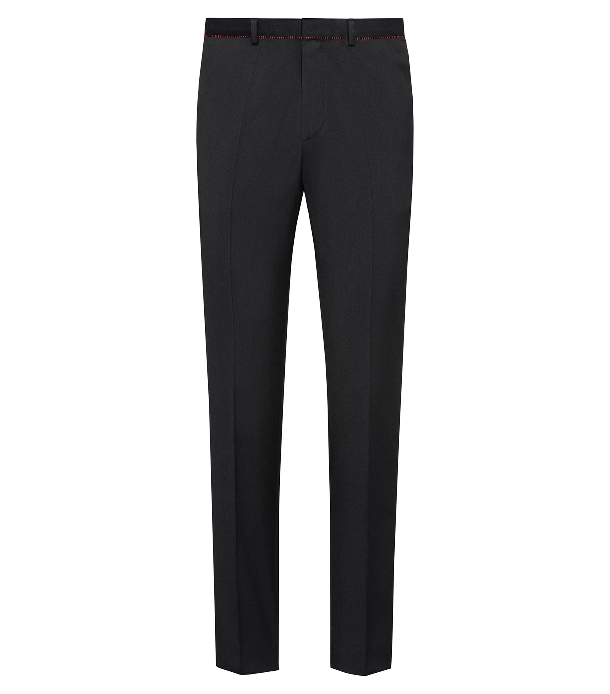 Extra-slim-fit virgin-wool trousers with red detailing, Black