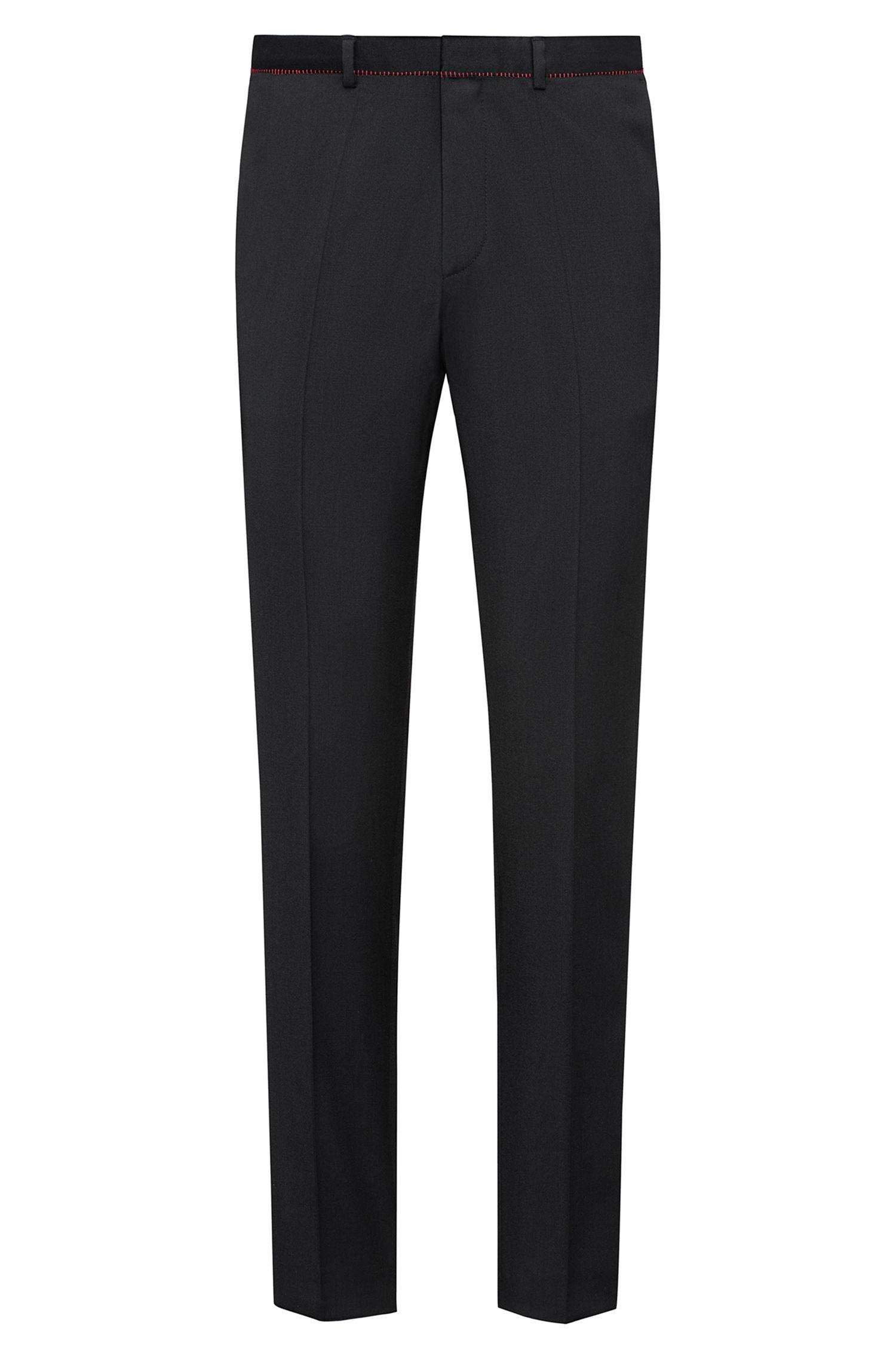 Pantalones extra slim fit en lana virgen con detalles en rojo