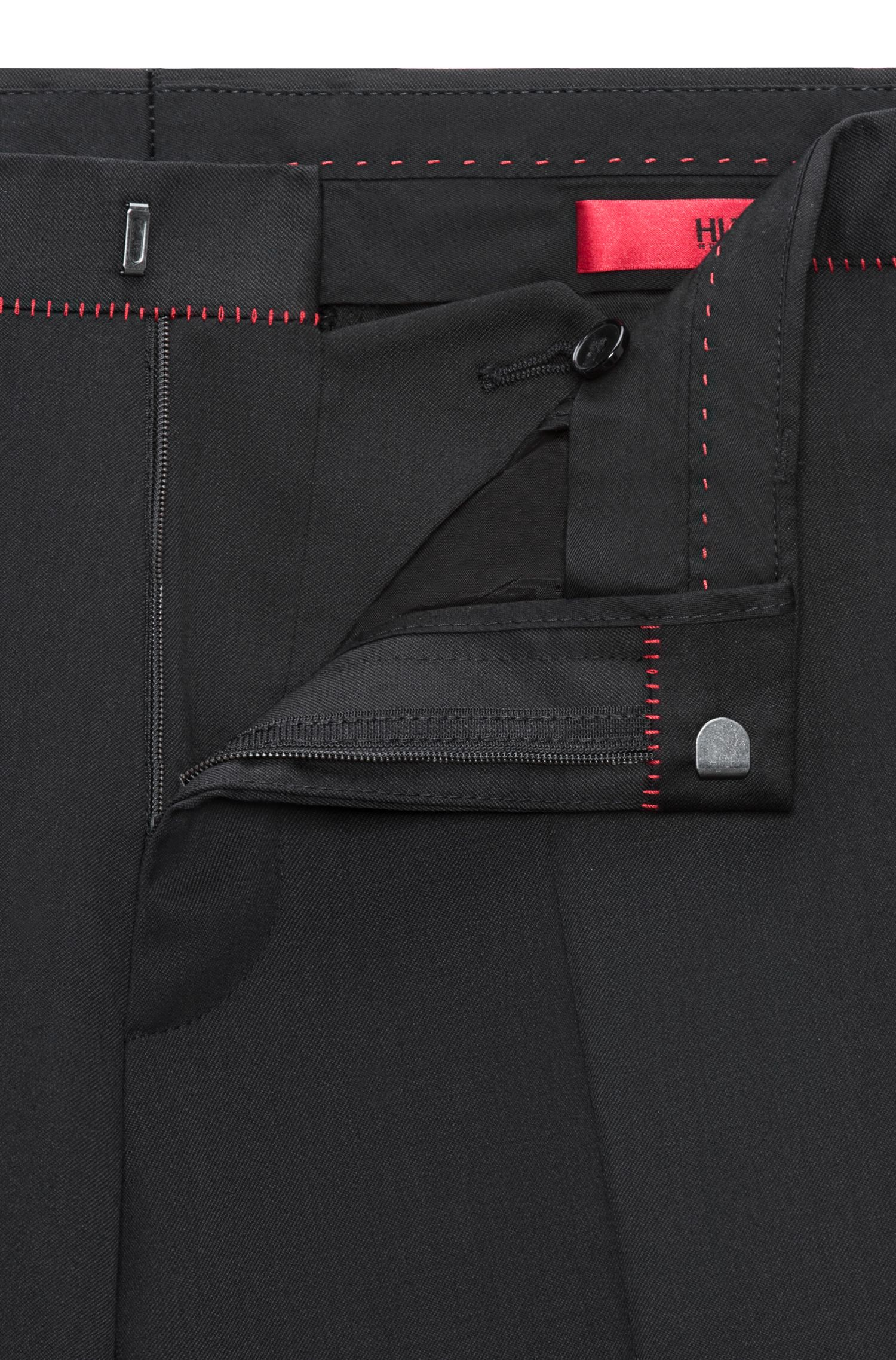 Extra-slim-fit virgin-wool trousers with red detailing HUGO BOSS
