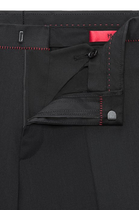Extra-slim-fit virgin-wool trousers with red detailing HUGO BOSS 3VeivaXc
