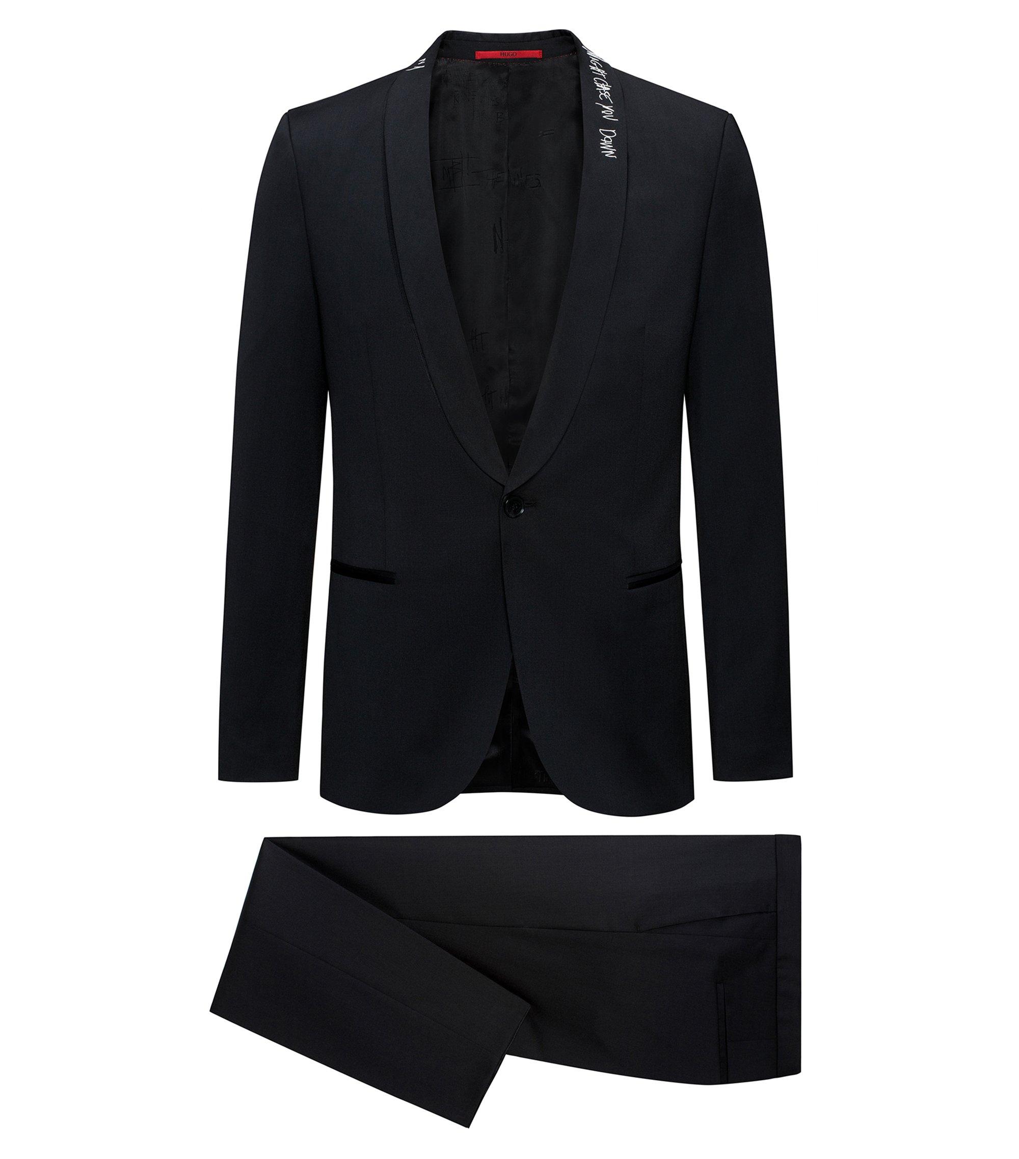 Extra Slim-Fit Anzug aus Schurwolle mit Graffiti-Details, Schwarz