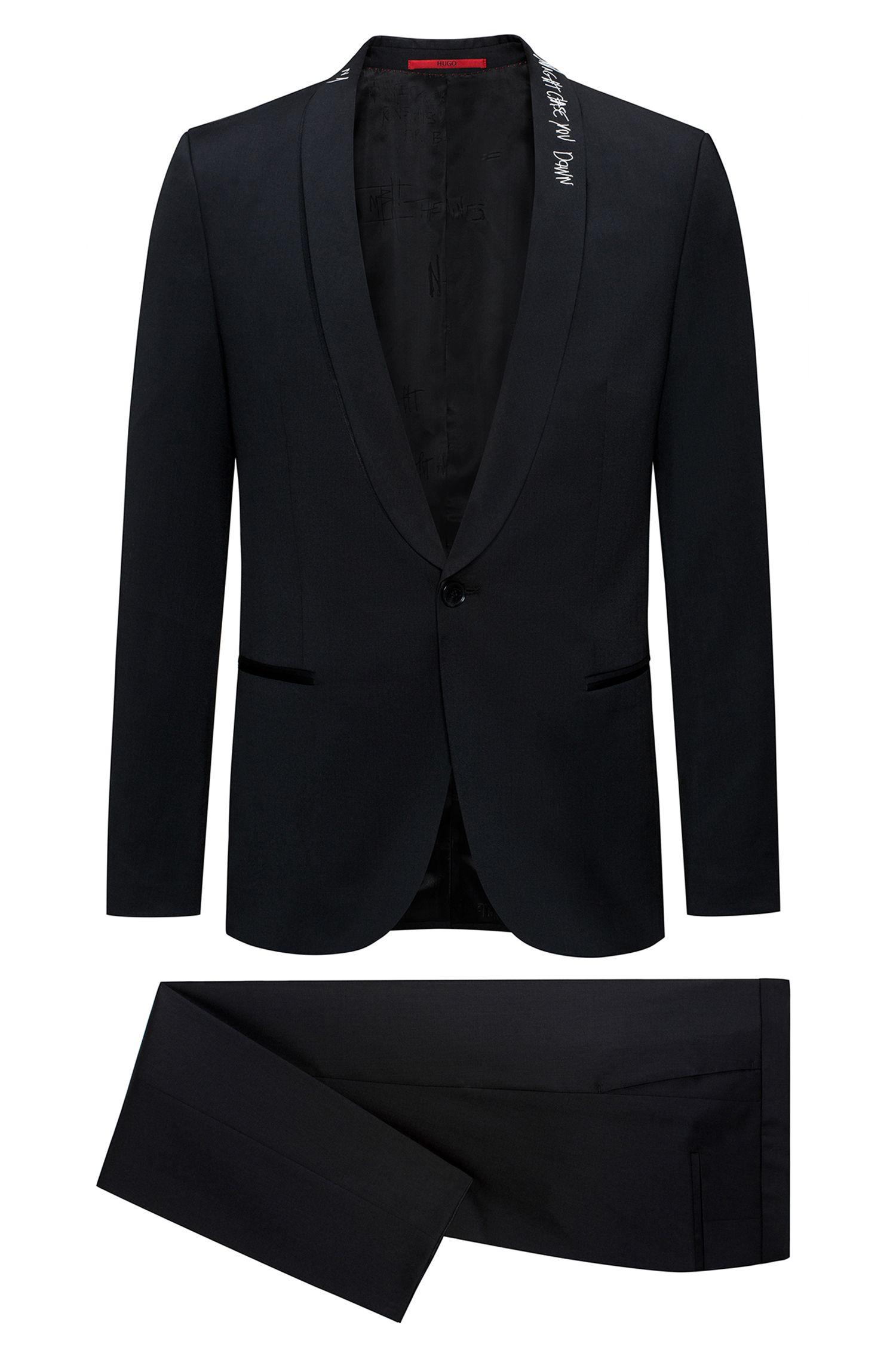 Extra Slim-Fit Anzug aus Schurwolle mit Graffiti-Details