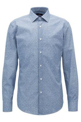 Camisa slim fit en algodón con estampado de flores , Azul oscuro
