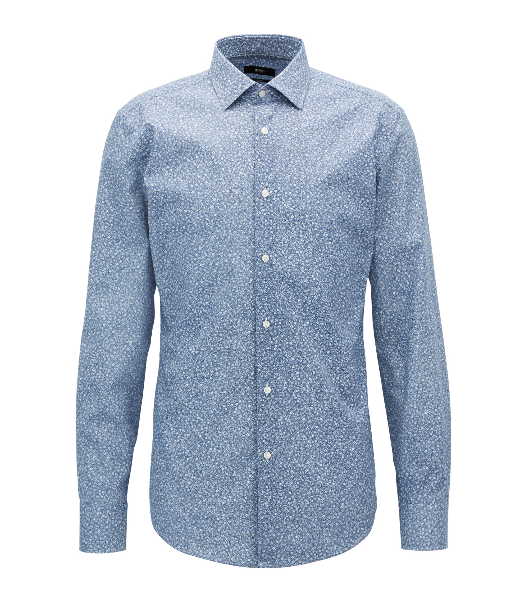 Floral-print cotton shirt in a slim fit , Donkerblauw