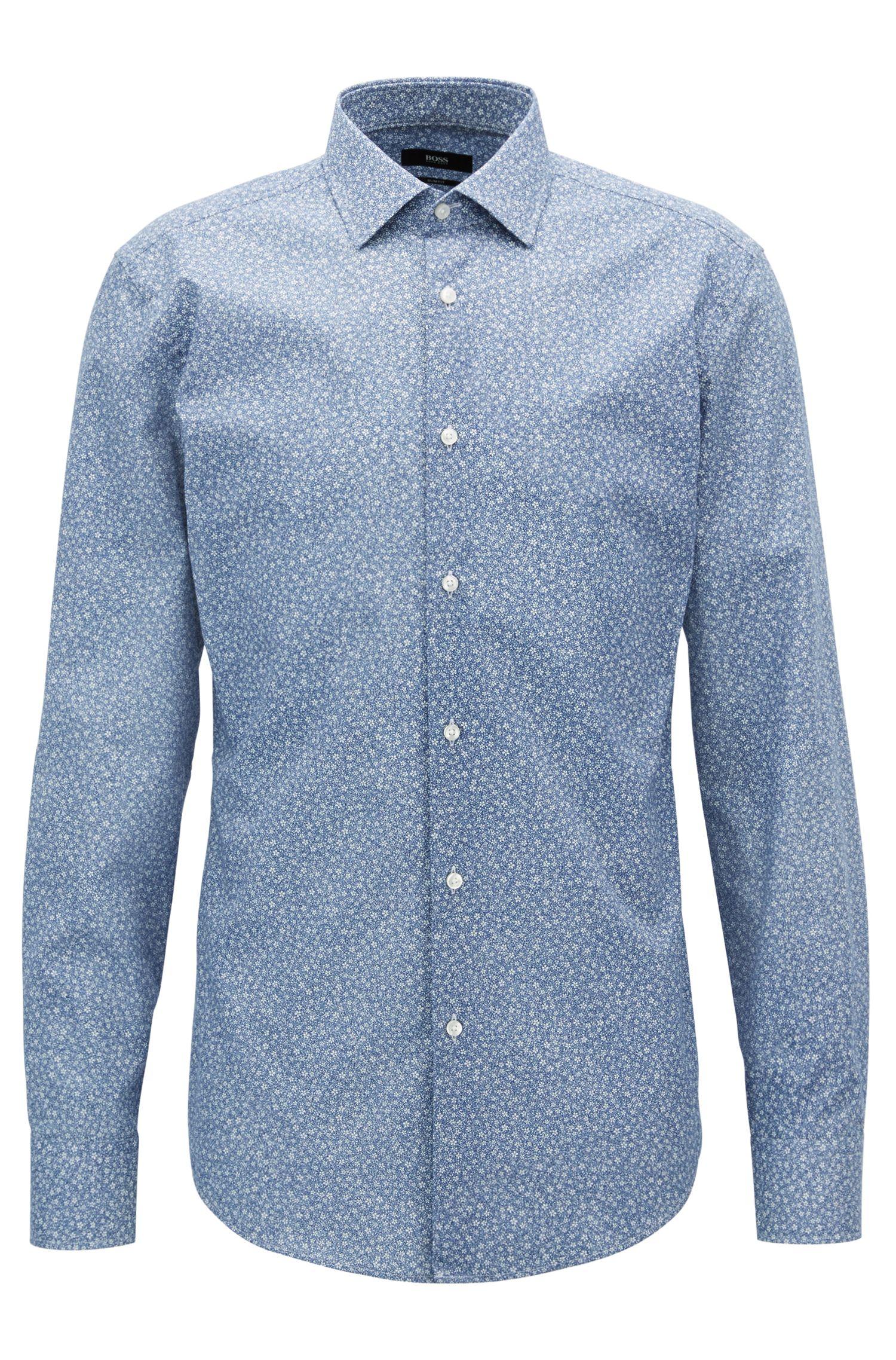 Slim-Fit Hemd aus Baumwolle mit Blumen-Print