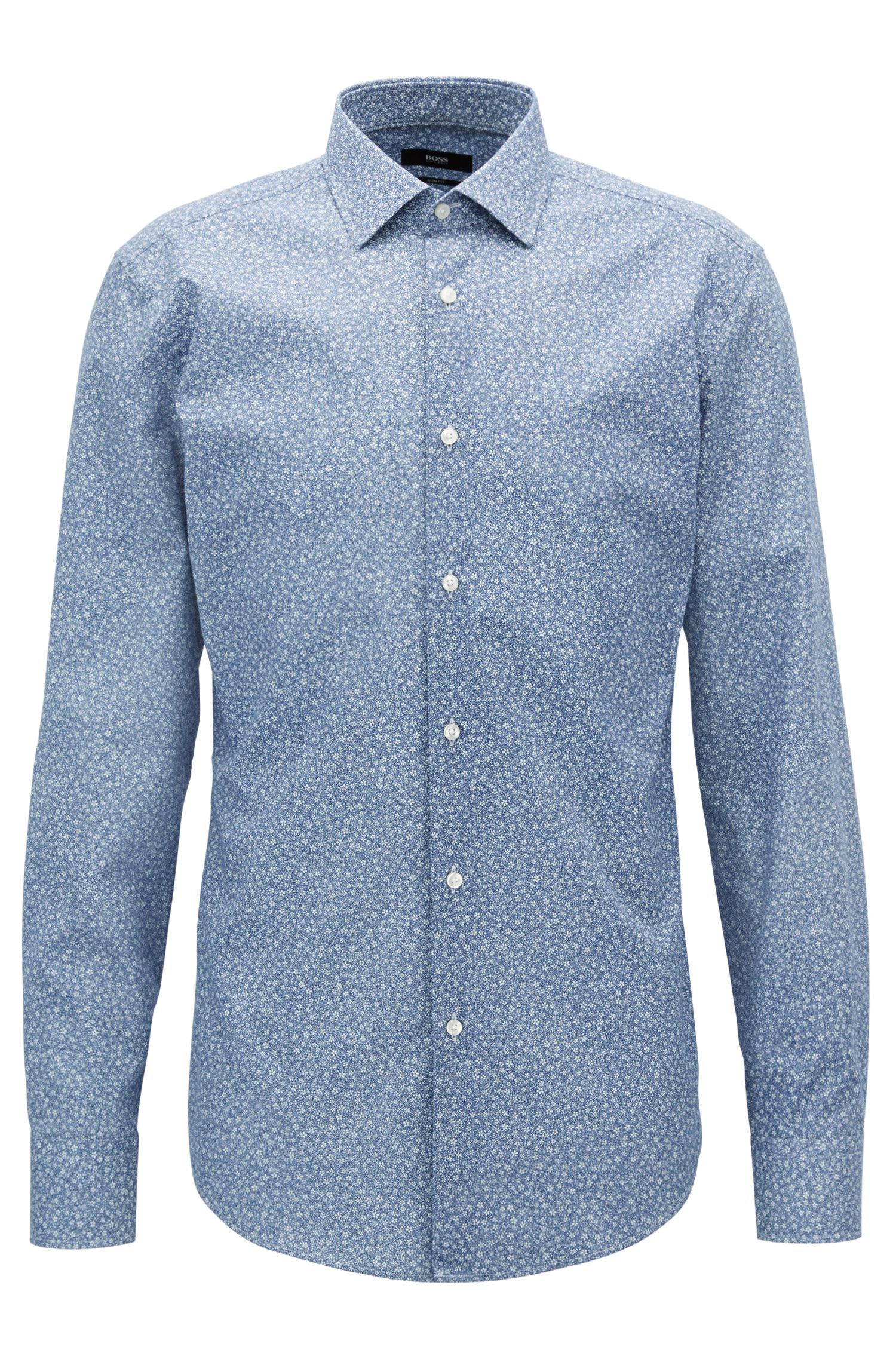 Floral-print cotton shirt in a slim fit