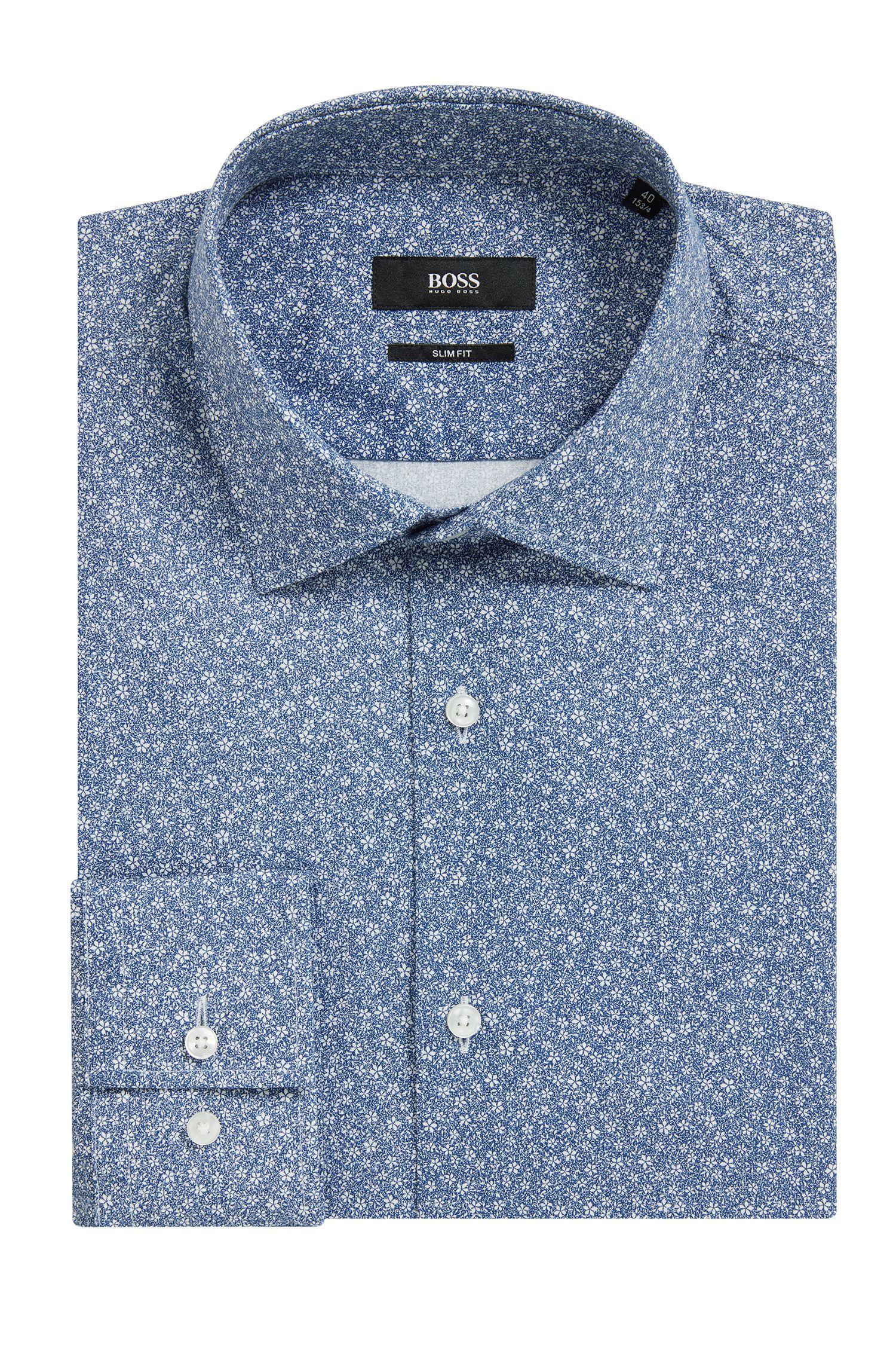 Slim-fit overhemd van katoen met bloemenprint