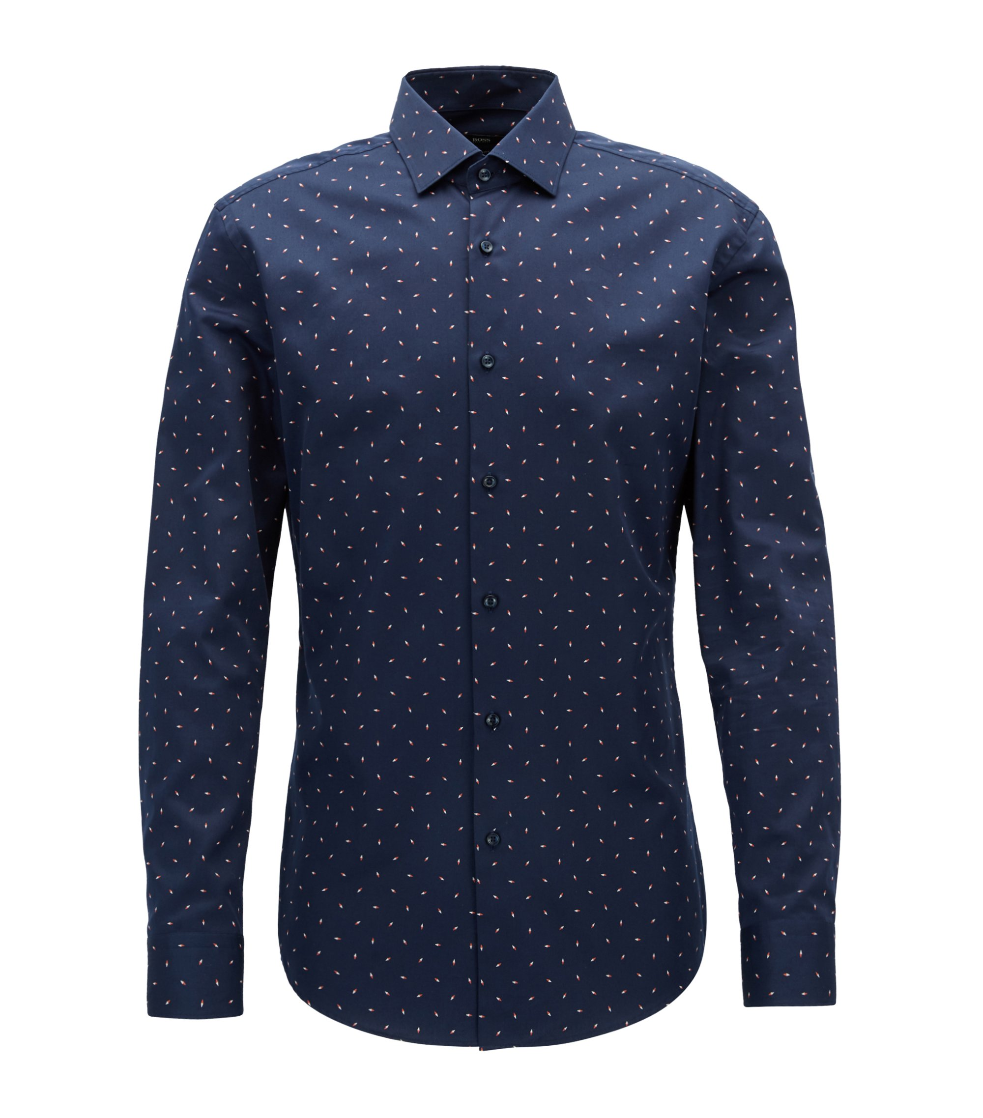 Slim-fit shirt with all-over compass print on cotton satin, Dark Blue