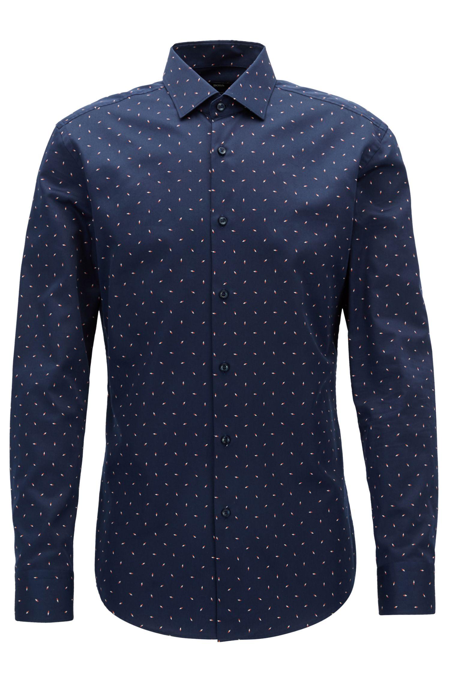 Slim-Fit Hemd ausBaumwoll-Satin mit durchgehendem Kompass-Print