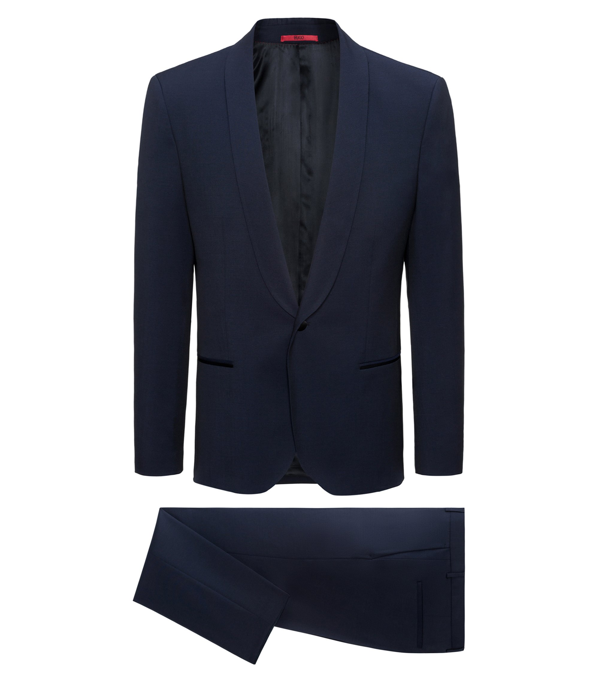 Extra-slim-fit virgin wool suit with shawl lapels, Dark Blue