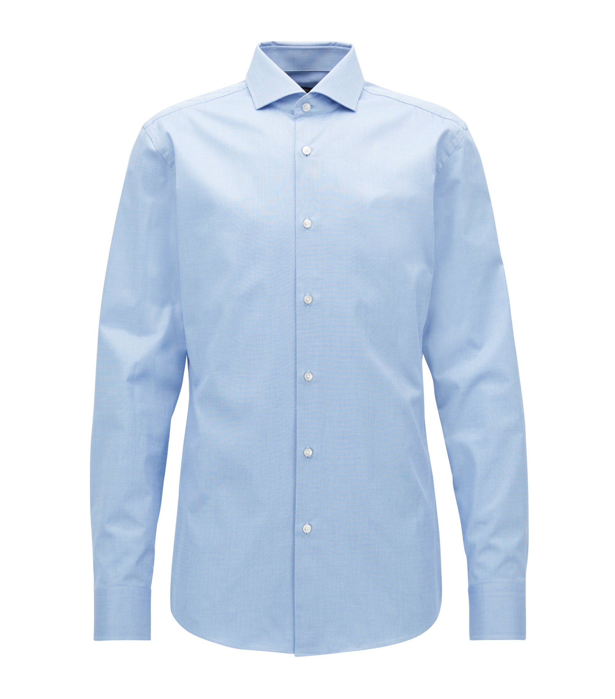Slim-fit cotton shirt with hidden script, Blau