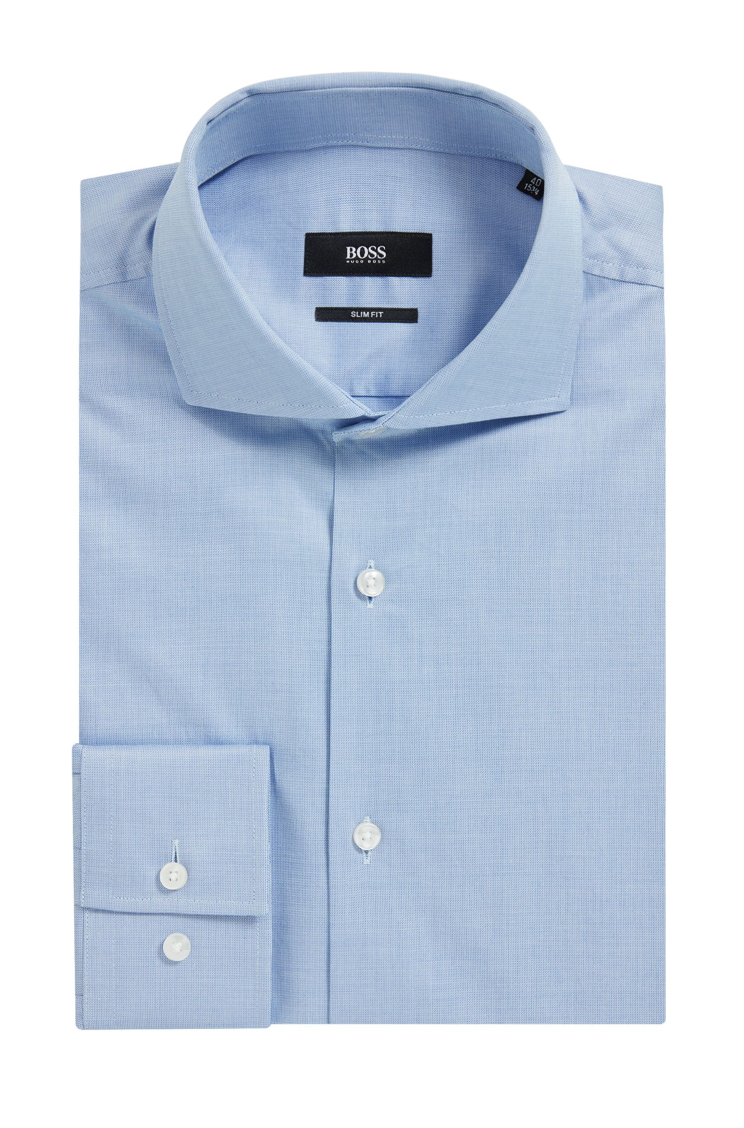 Camicia slim fit in cotone con scritta nascosta
