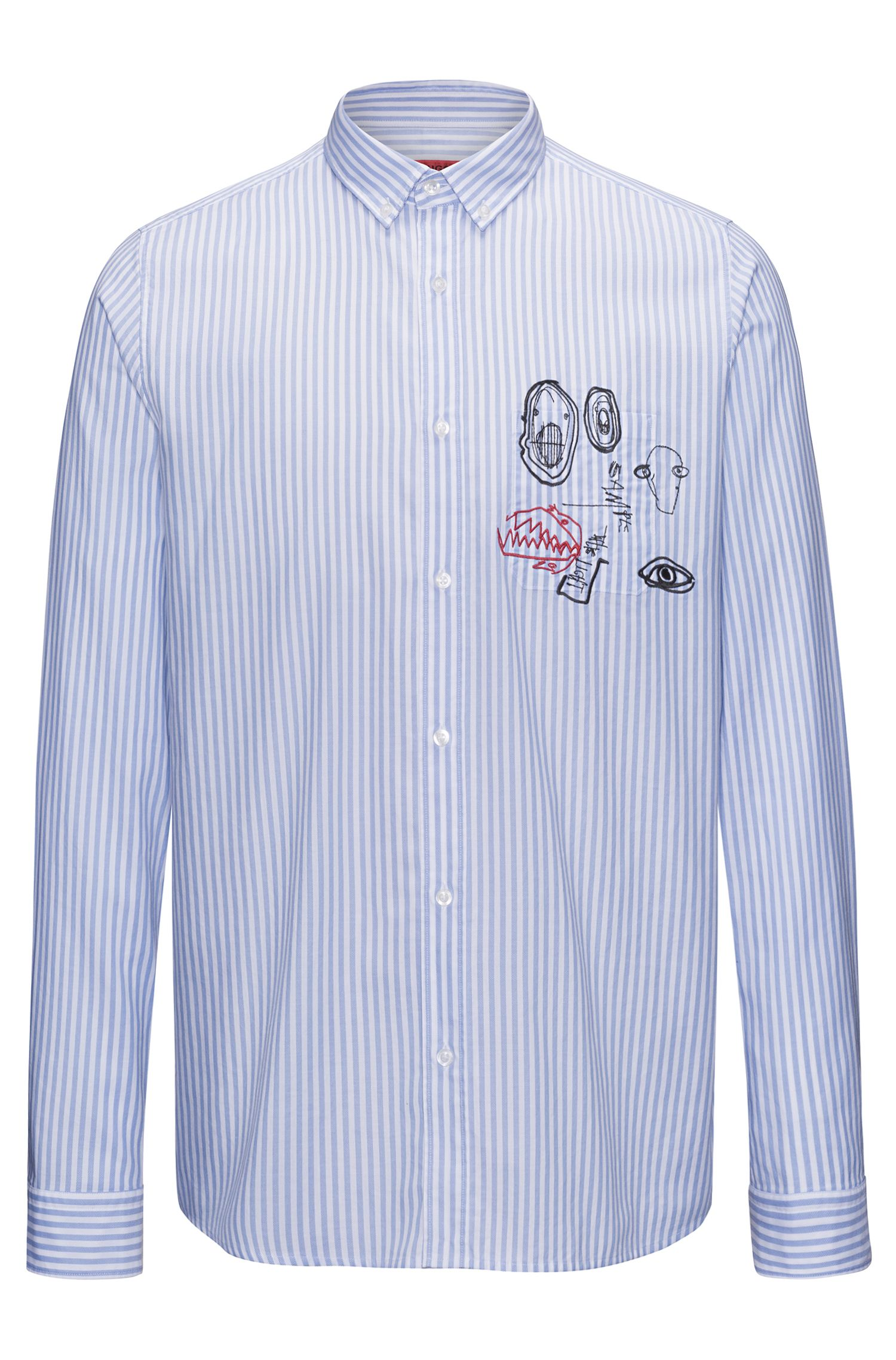Relaxed-fit cotton shirt with embroidery detail