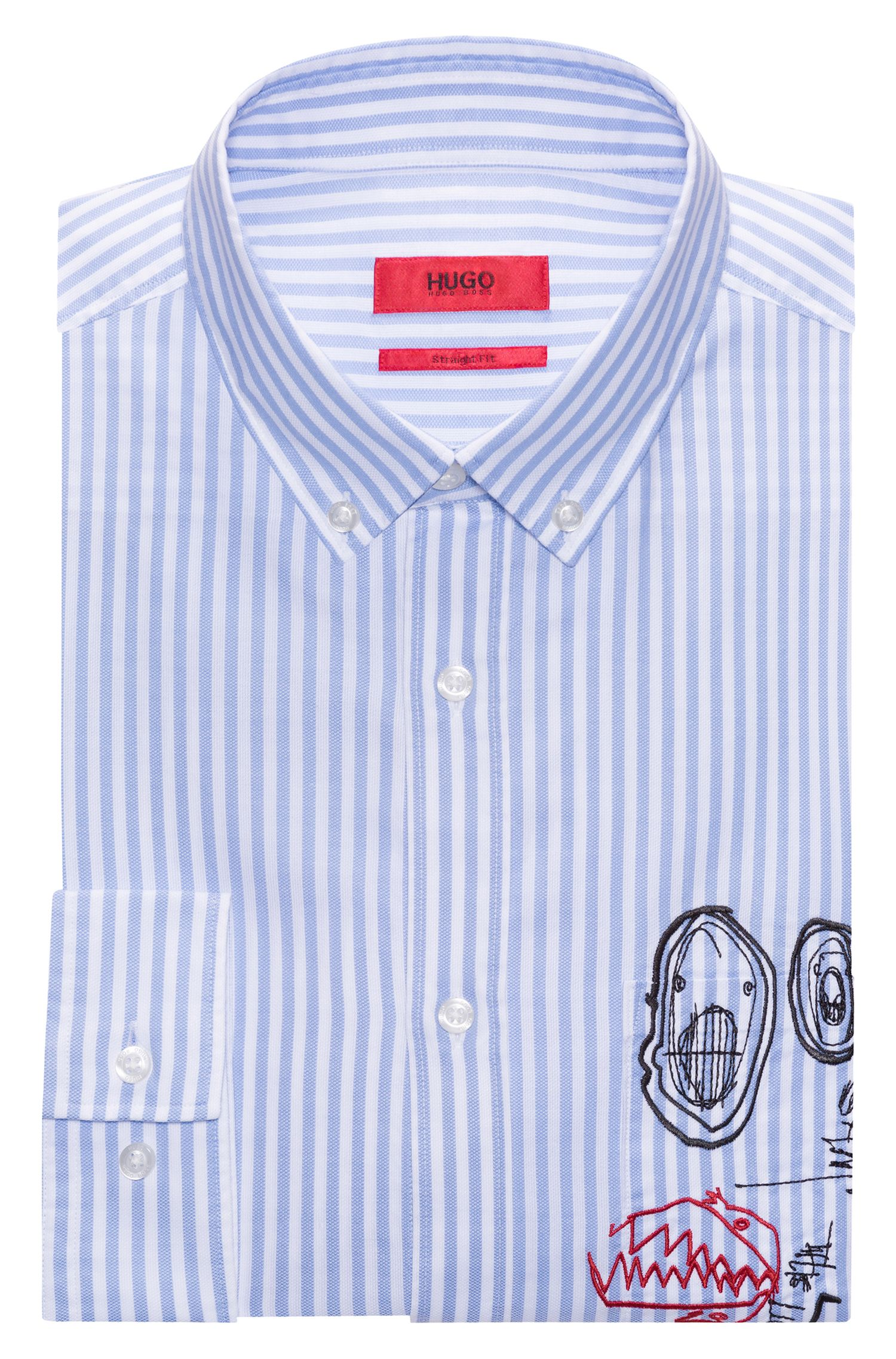 Relaxed-fit cotton shirt with embroidery detail HUGO BOSS