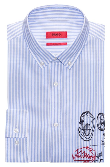 Discount Perfect Cheap And Nice Relaxed-fit cotton shirt with embroidery detail HUGO BOSS Very Cheap mrTnV