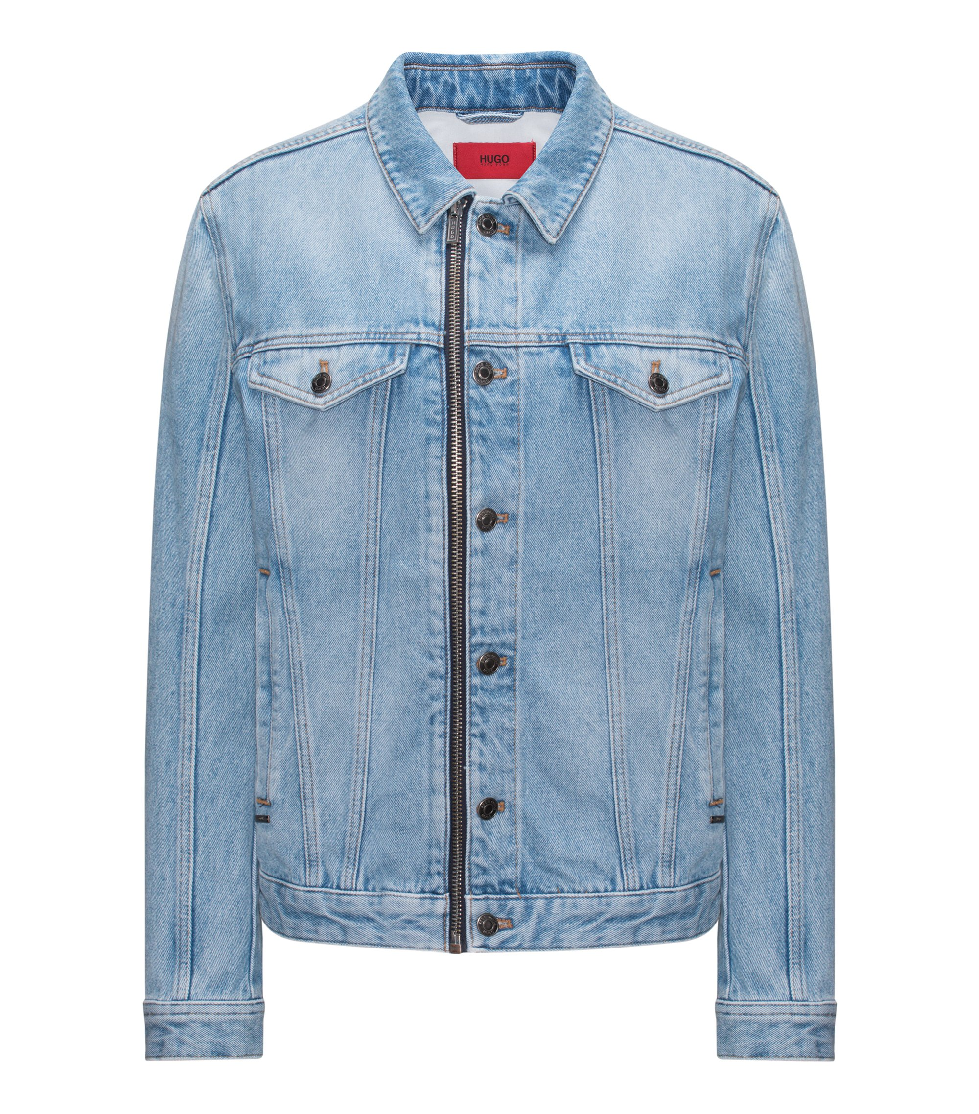 Oversized-fit stonewashed denim jacket with zip detail, Blue